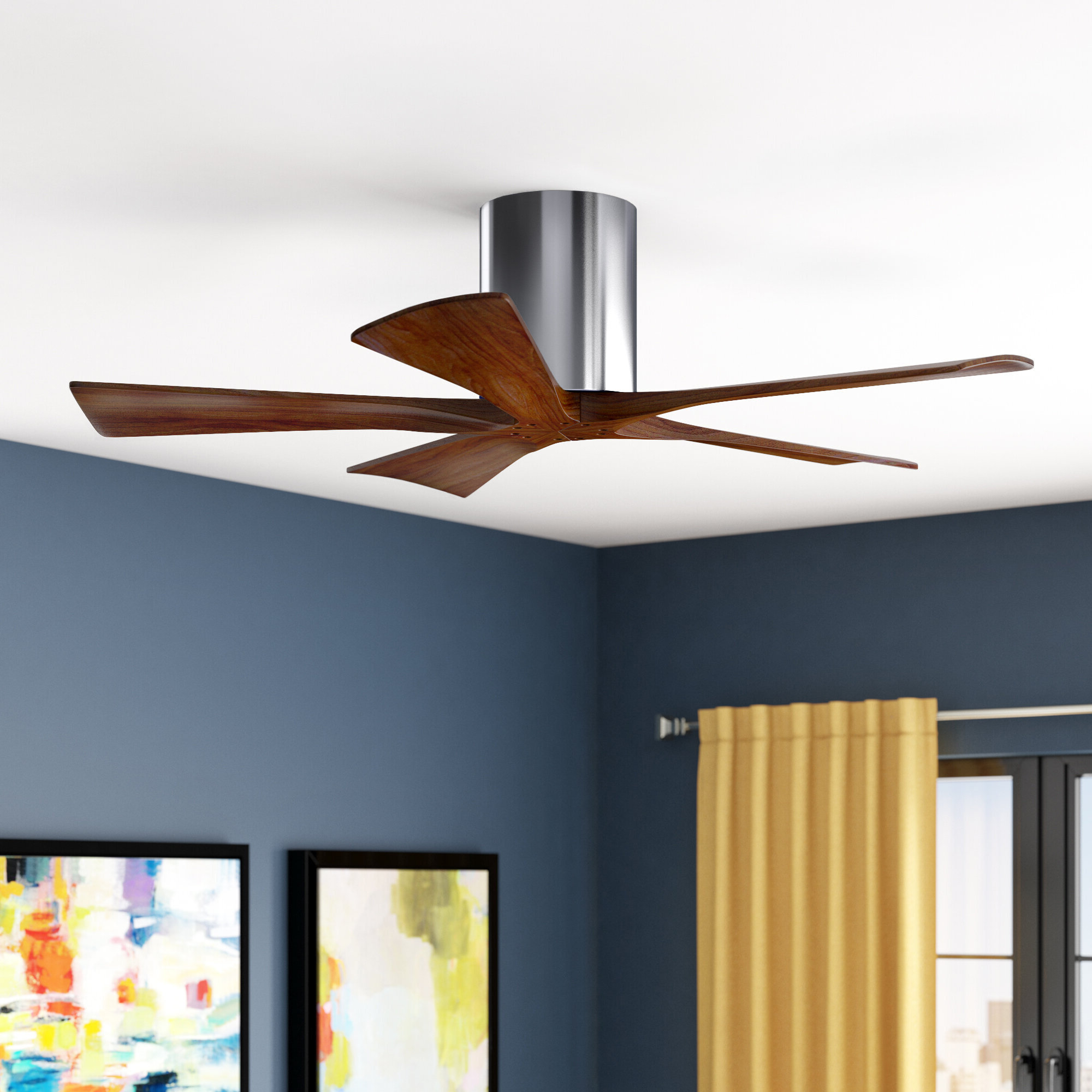 "Well Liked Tyree 3 Blade Ceiling Fans Inside 42"" Rosalind 5 Blade Hugger Ceiling Fan With Hand Held And Wall Remote (View 20 of 20)"