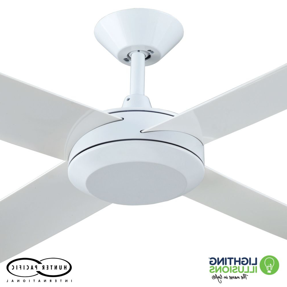 """White Concept 3 52"""" (1320mm) Ceiling Fan With Polymer Blades Inside Well Liked Concept Ii 3 Blade Led Ceiling Fans With Remote (View 14 of 20)"""