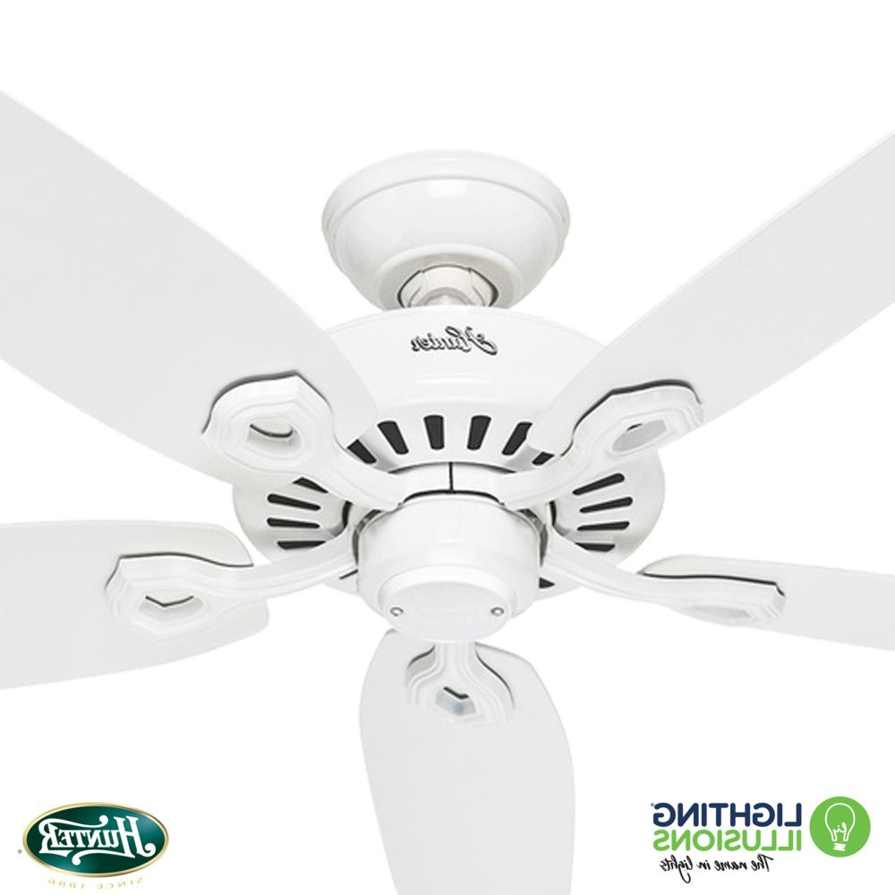 "White Hunter Builder Elite 52"" 1320mm Ceiling Fan In Favorite Builder Elite 5 Blade Ceiling Fans (View 18 of 20)"