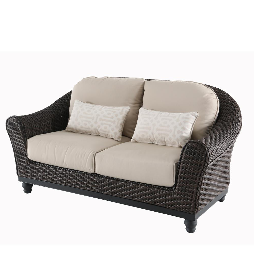 Wicker Loveseats In Latest Home Decorators Collection Camden Dark Brown Wicker Outdoor Loveseat With Sunbrella Antique Beige Cushions (View 10 of 20)