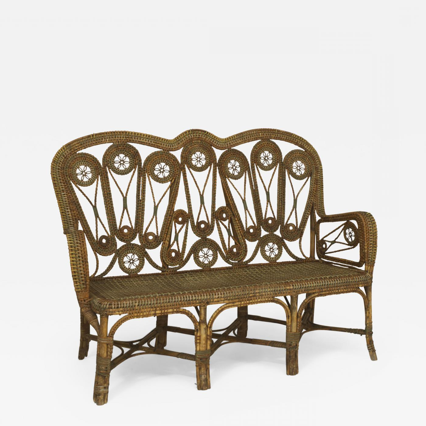 Wicker Loveseats Pertaining To Most Recent Perret Et Vibert – French Victorian Natural Wicker Loveseats (View 18 of 20)