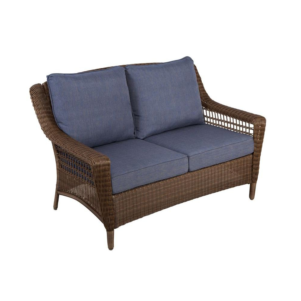 Wicker Loveseats Within Most Recent Hampton Bay Spring Haven Brown All Weather Wicker Outdoor (View 19 of 20)