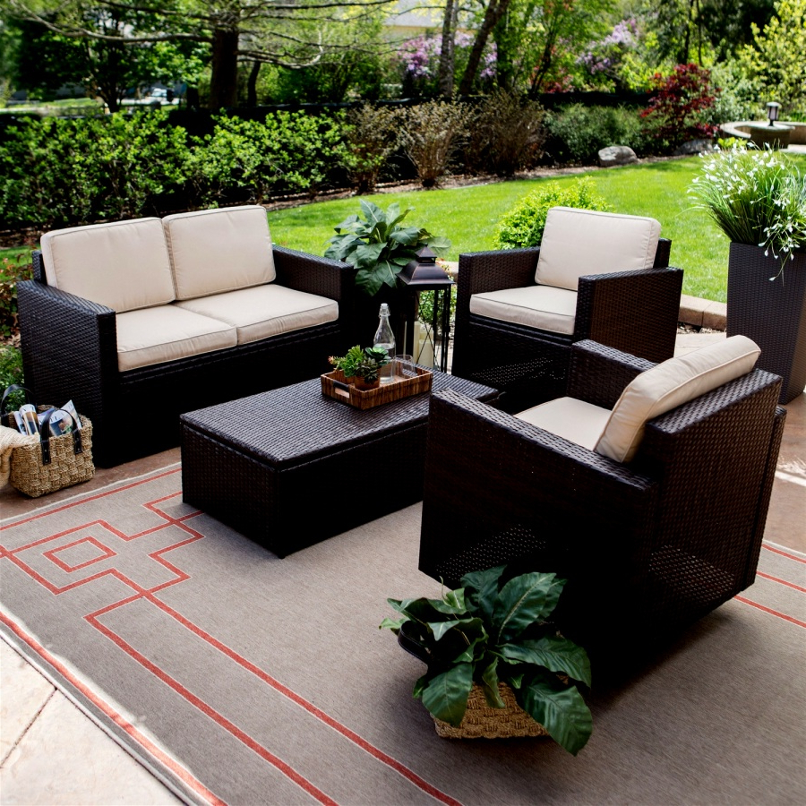 Wicker Resin Patio Furniture Customized Outdoor Brown 4 With Regard To Fashionable Kentwood Resin Wicker Loveseats (View 19 of 20)