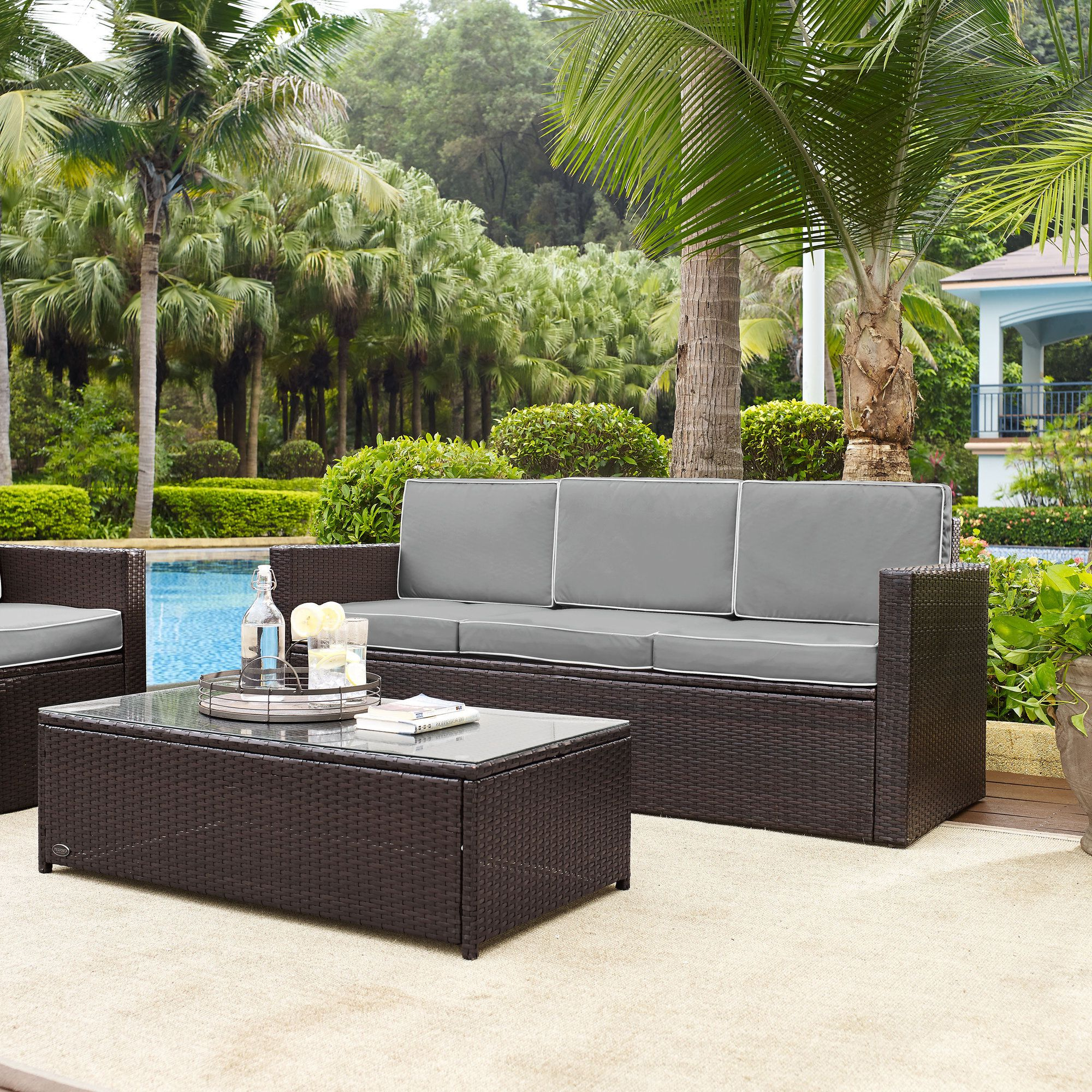 Wicker Sofa Pertaining To Well Liked Belton Patio Sofas With Cushions (View 3 of 25)