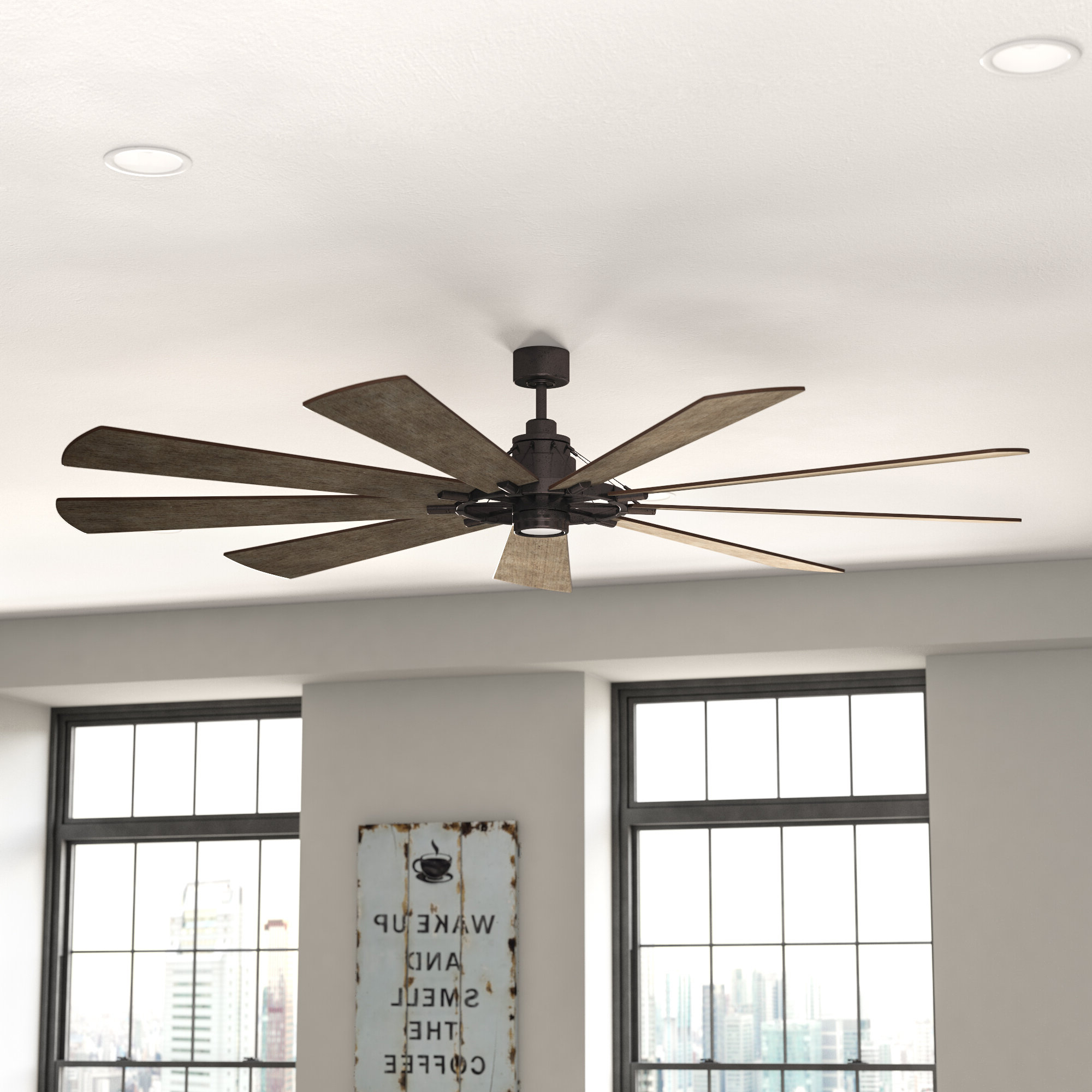 """Widely Used Bankston 8 Blade Led Ceiling Fans Throughout 17 Stories 85"""" Ciaran 9 Blade Led Ceiling Fan (View 20 of 20)"""