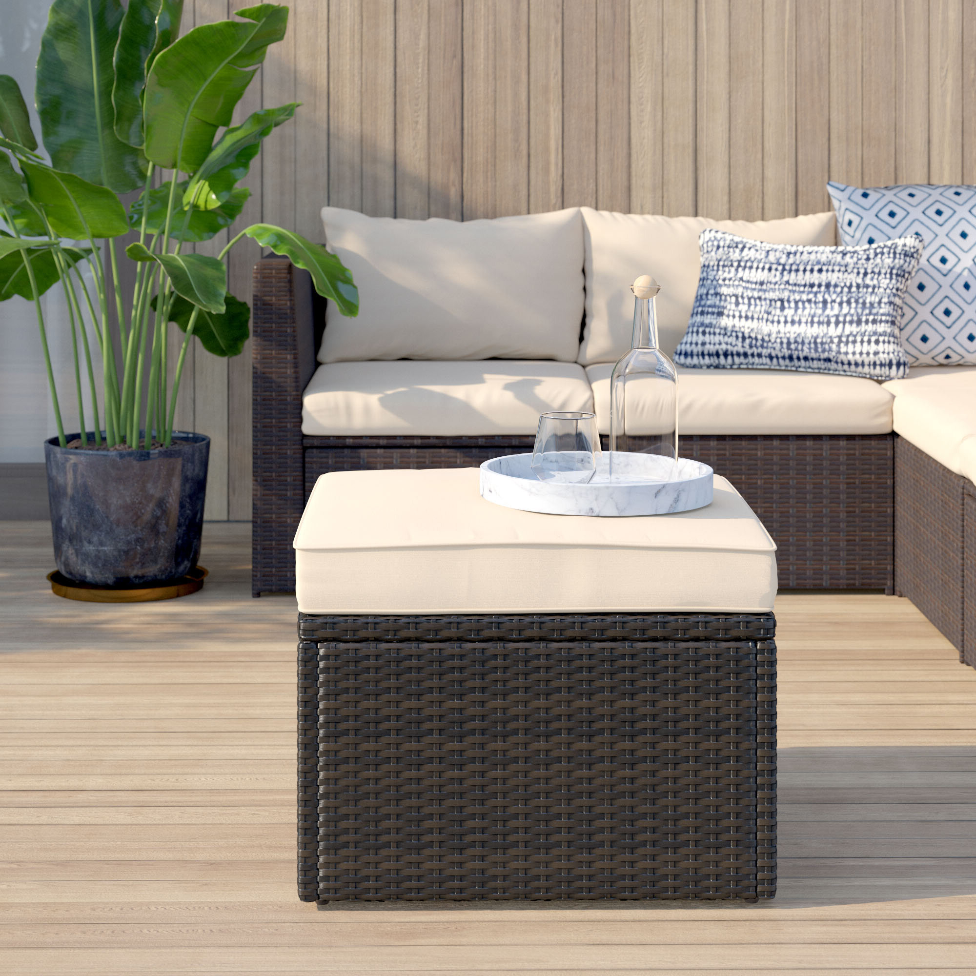 Widely Used Belton Patio Sofas With Cushions In Mercury Row Belton Outdoor Ottoman With Cushion & Reviews (Gallery 22 of 25)
