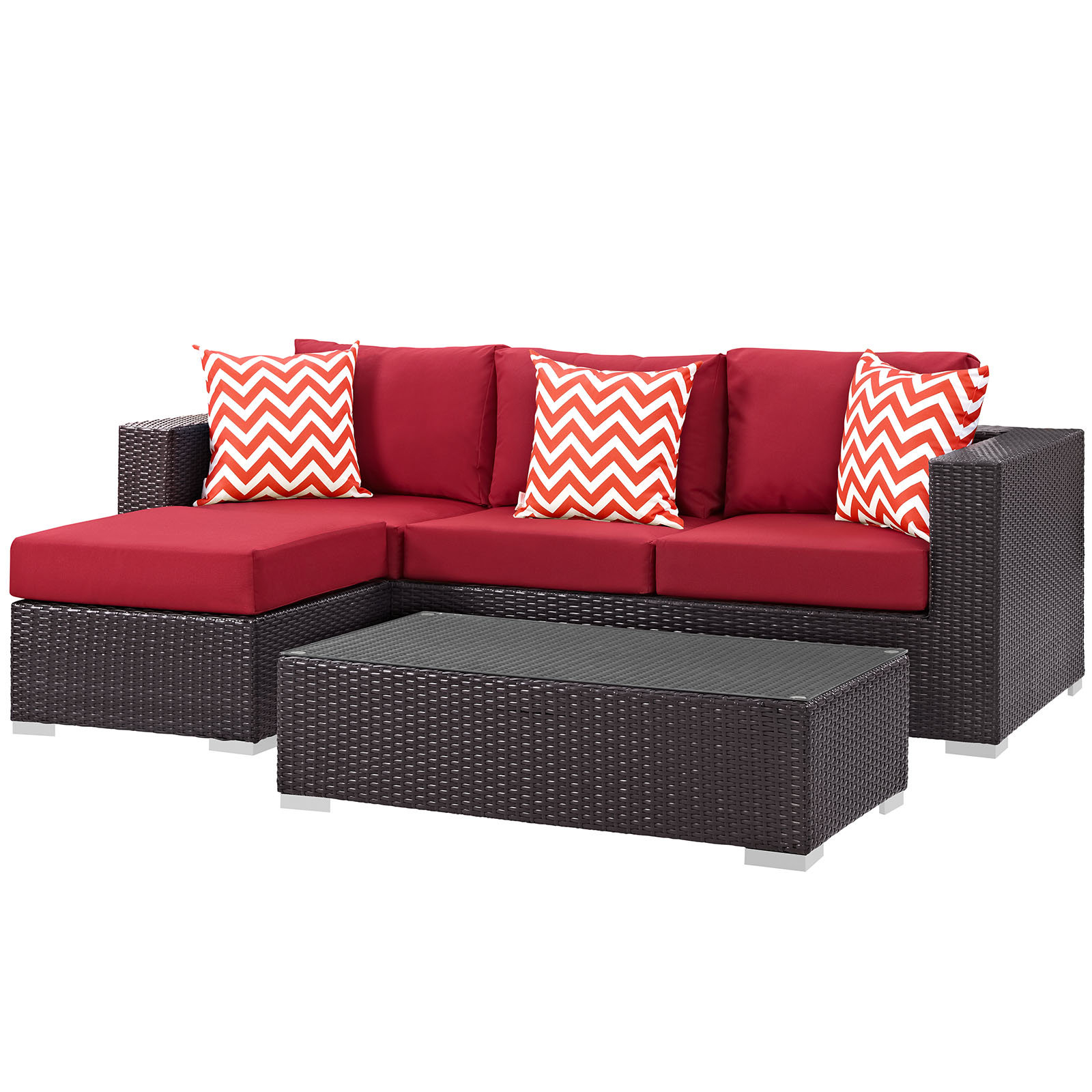 Widely Used Brentwood Patio Sofas With Cushions Inside Brentwood 3 Piece Rattan Sectional Set With Cushions (View 18 of 18)