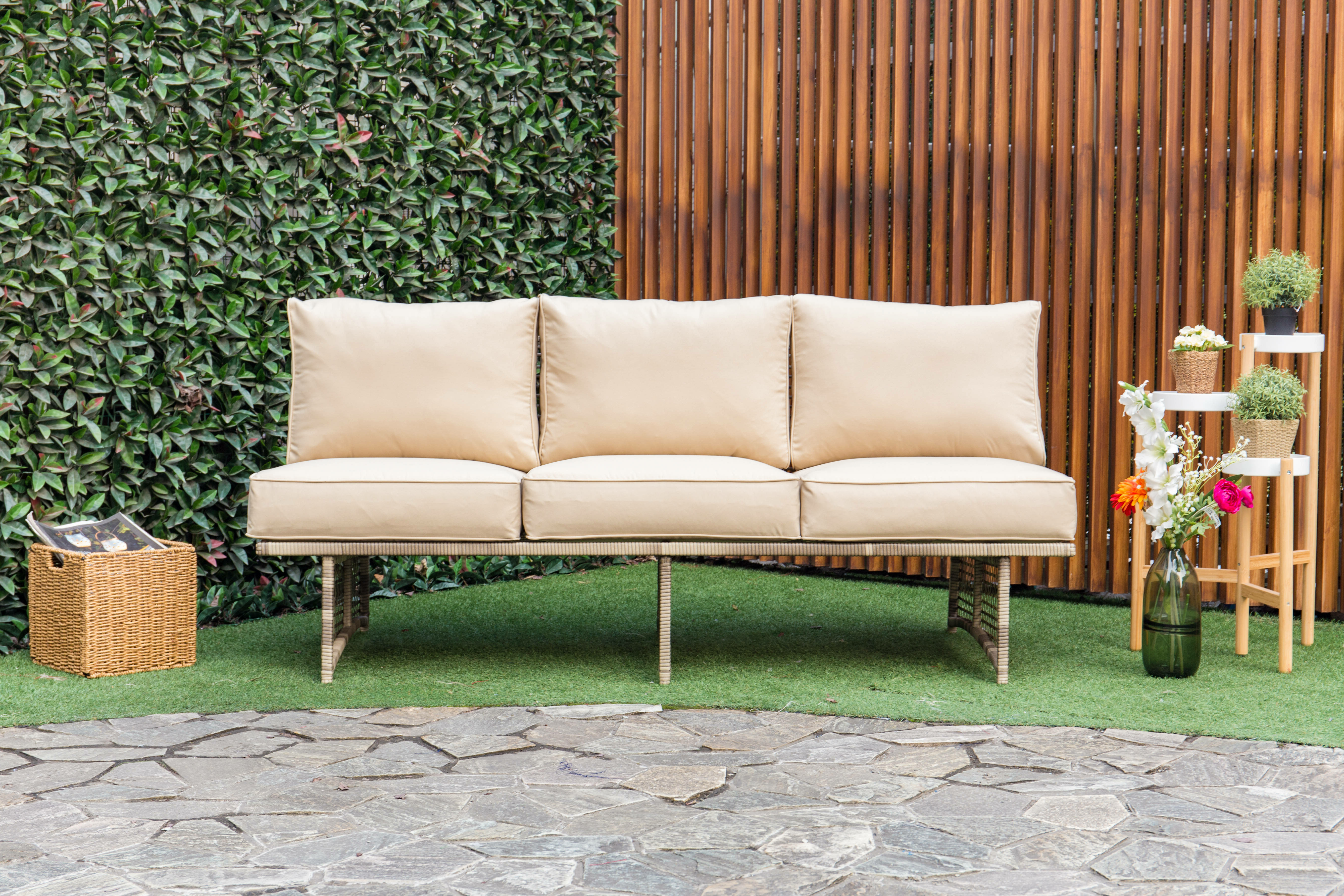 Widely Used Dakota Outdoor Rattan Patio Sofa With Cushions Within Corentin Patio Sofas (View 20 of 20)