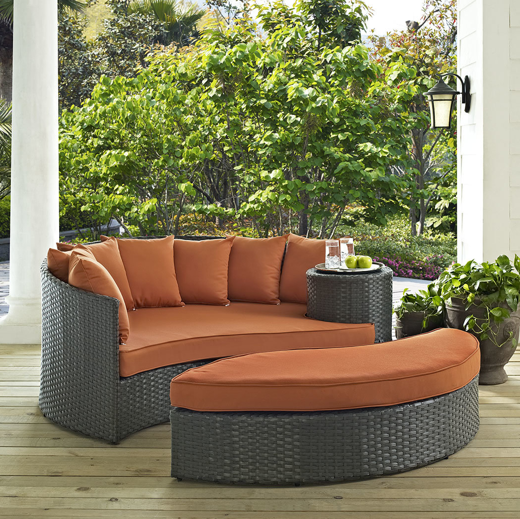 Widely Used Greening Outdoor Daybeds With Ottoman & Cushions Pertaining To Tripp Patio Daybed With Cushions (View 7 of 20)