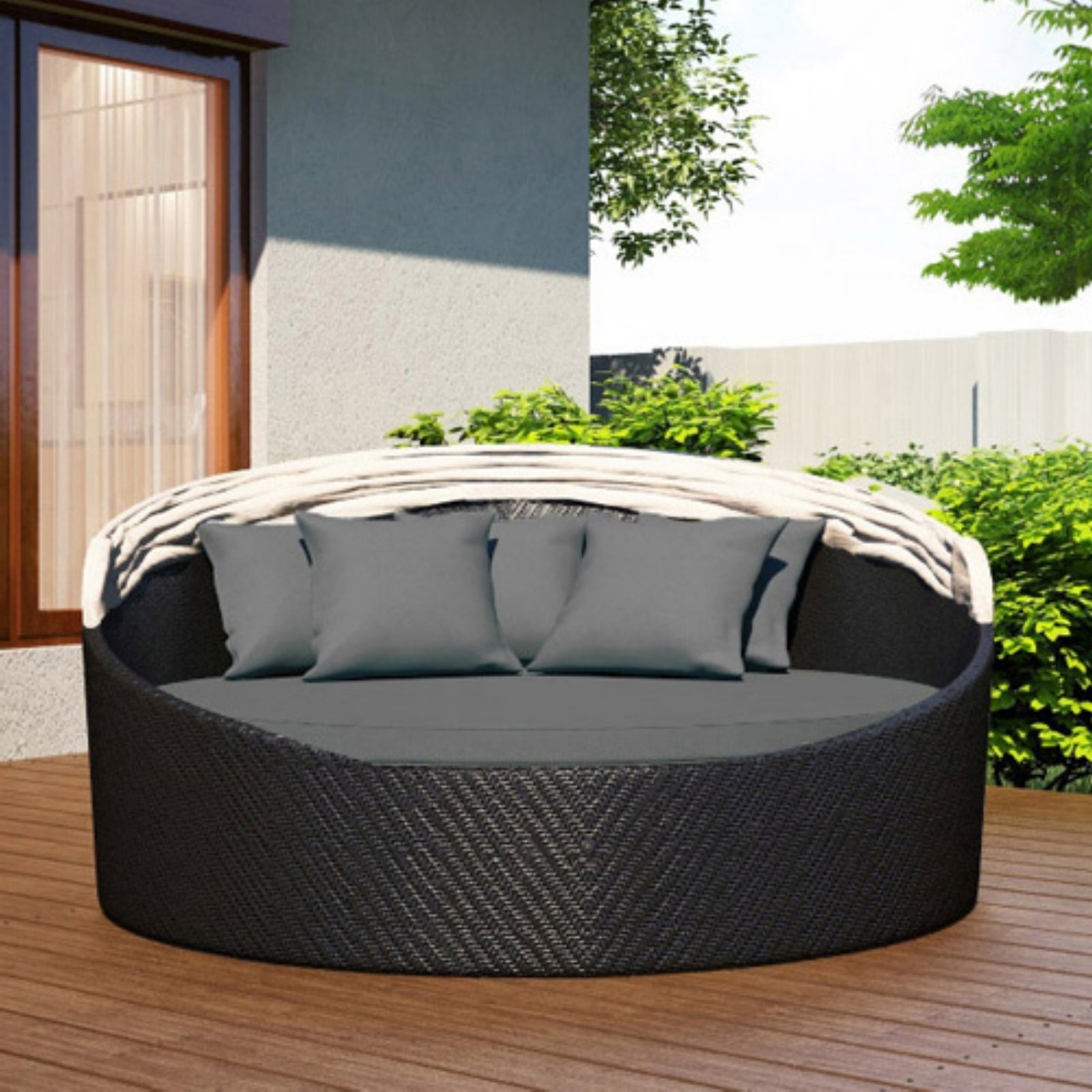 Widely Used Hatley Patio Daybeds With Cushions With Outdoor Harmonia Living Wink Canopy Daybed Sunbrella Heather (View 20 of 20)