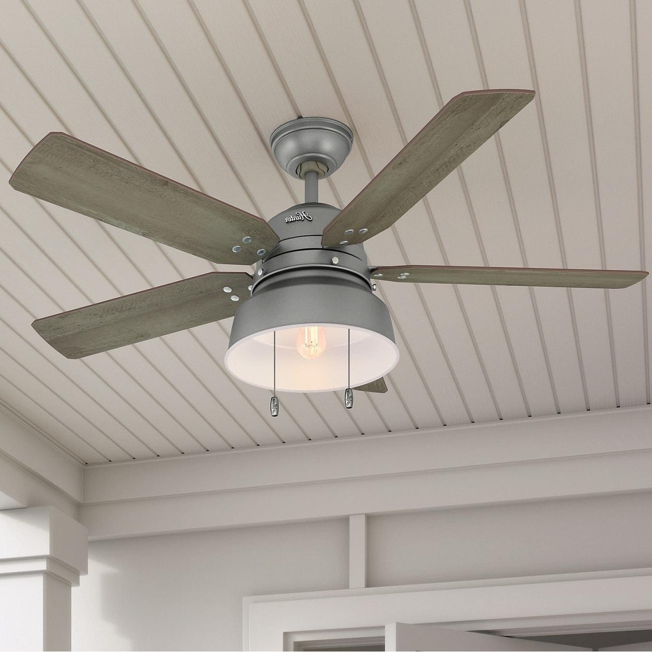 "Widely Used Hunter Fan 52"" Mill Valley Matte Silver W / 5 Pine / Walnut Rev (View 4 of 20)"