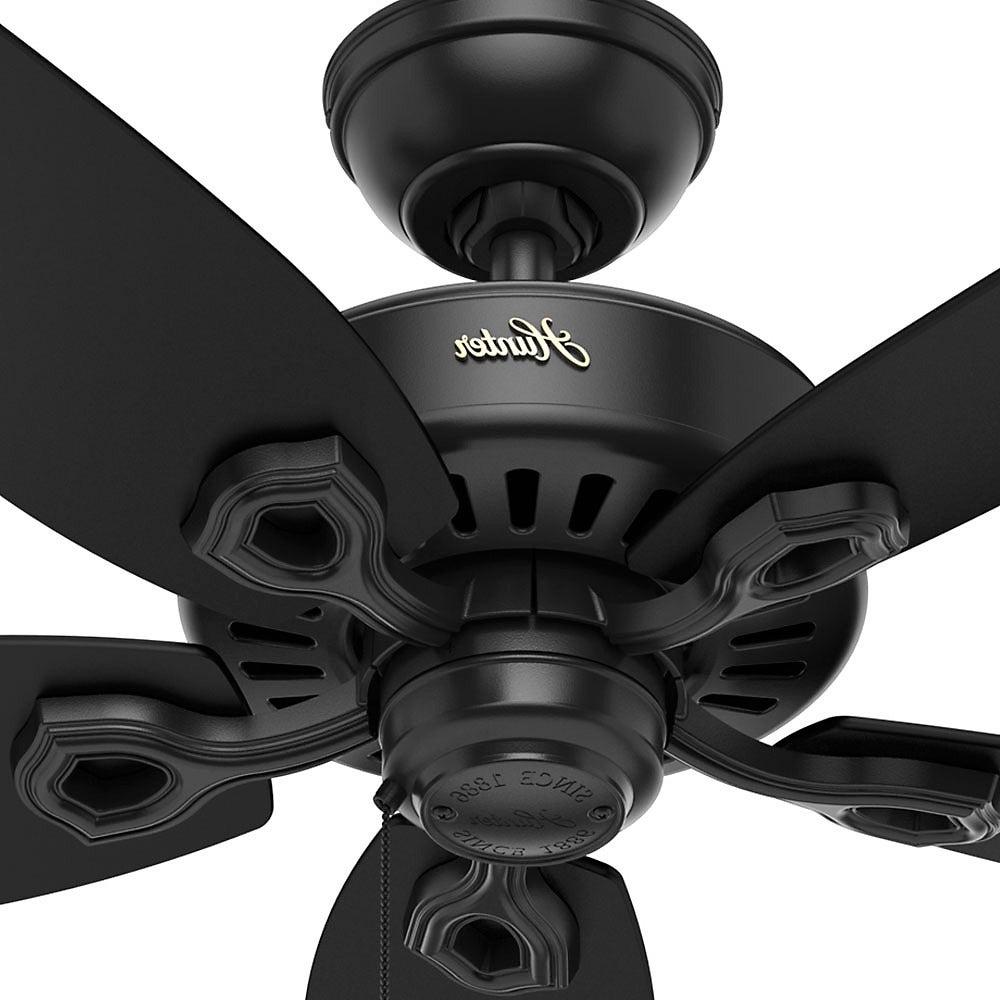 Widely Used Hunter Fan Builder Elite 52 Inch Matte Black Ceiling Fan With 5 Matte  Black/strained Oak Reversible Blades With Builder Elite 5 Blade Ceiling Fans (View 20 of 20)