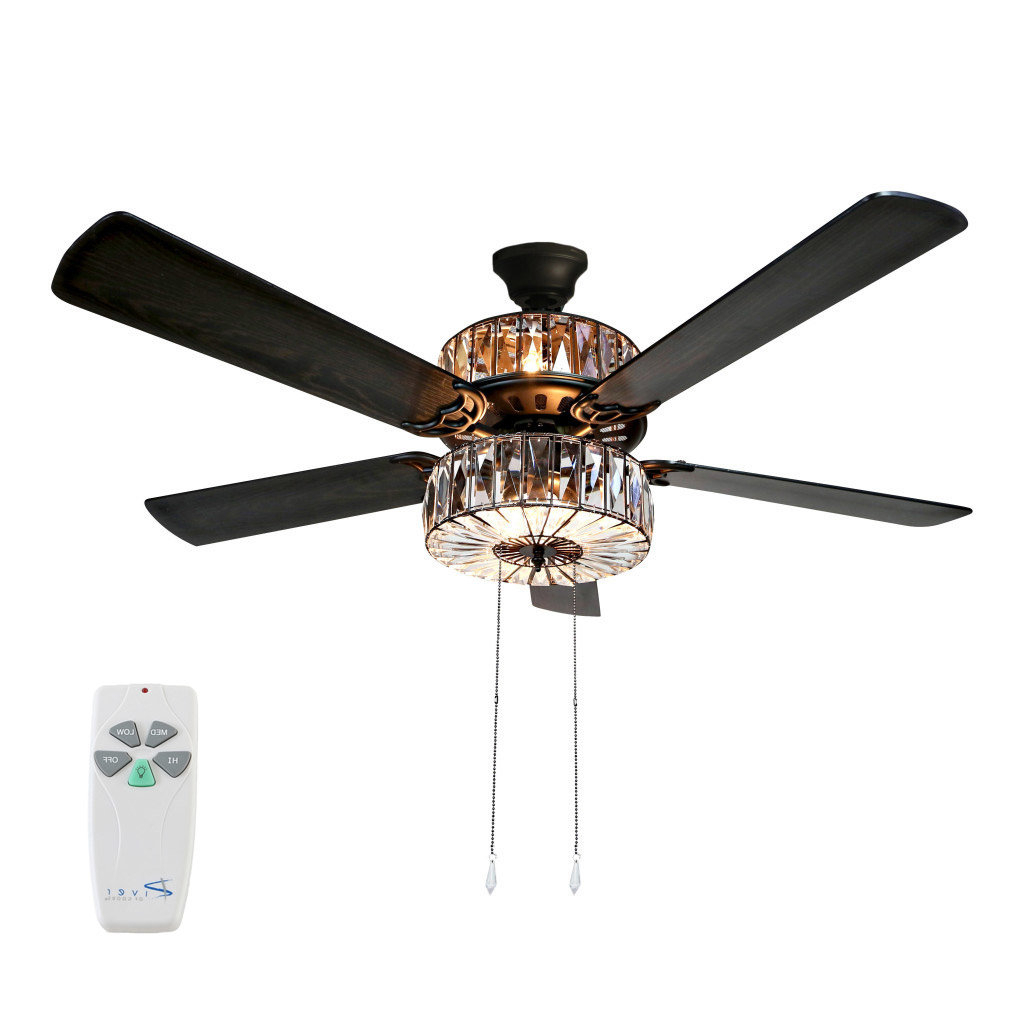 "Widely Used Norah 5 Blade Ceiling Fans Throughout 52"" Njie Caged Crystal 5 Blade Ceiling Fan With Remote, Light Kit Included (View 20 of 20)"