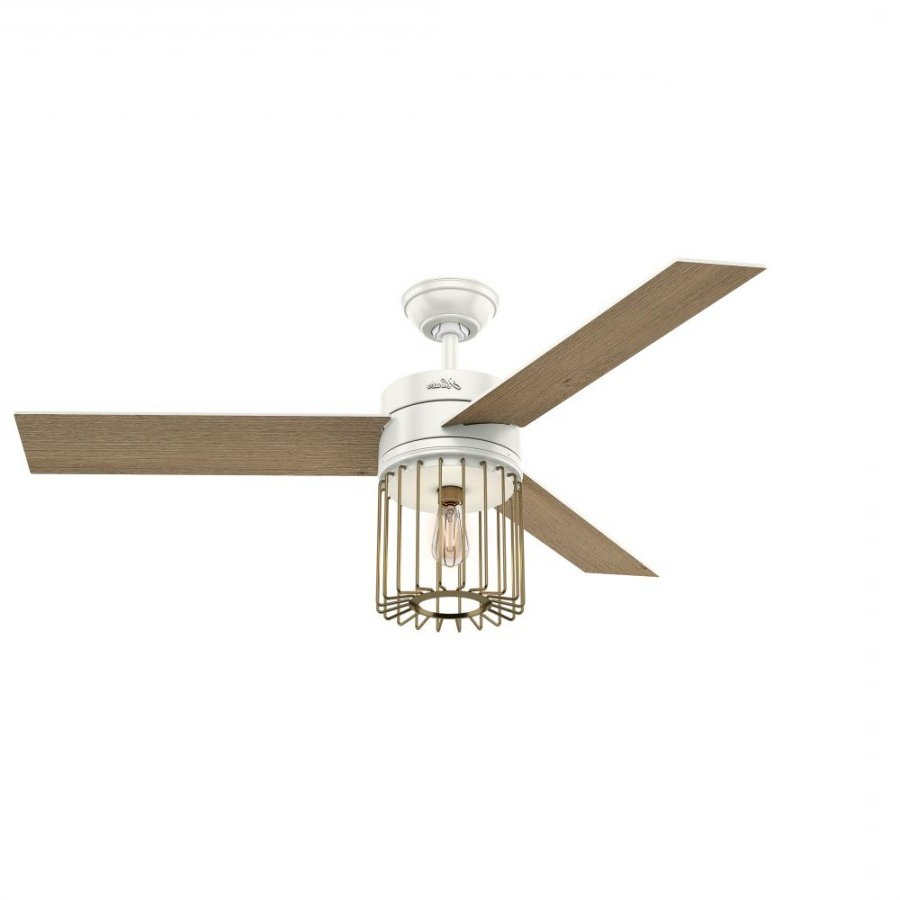 Widely Used Ronan 3 Blade Ceiling Fans Inside Hunter 59238 Ronan 52 Inch 1 Led Light Ceiling Fan In Fresh White With 3 White Blade – Remote Included (View 4 of 20)