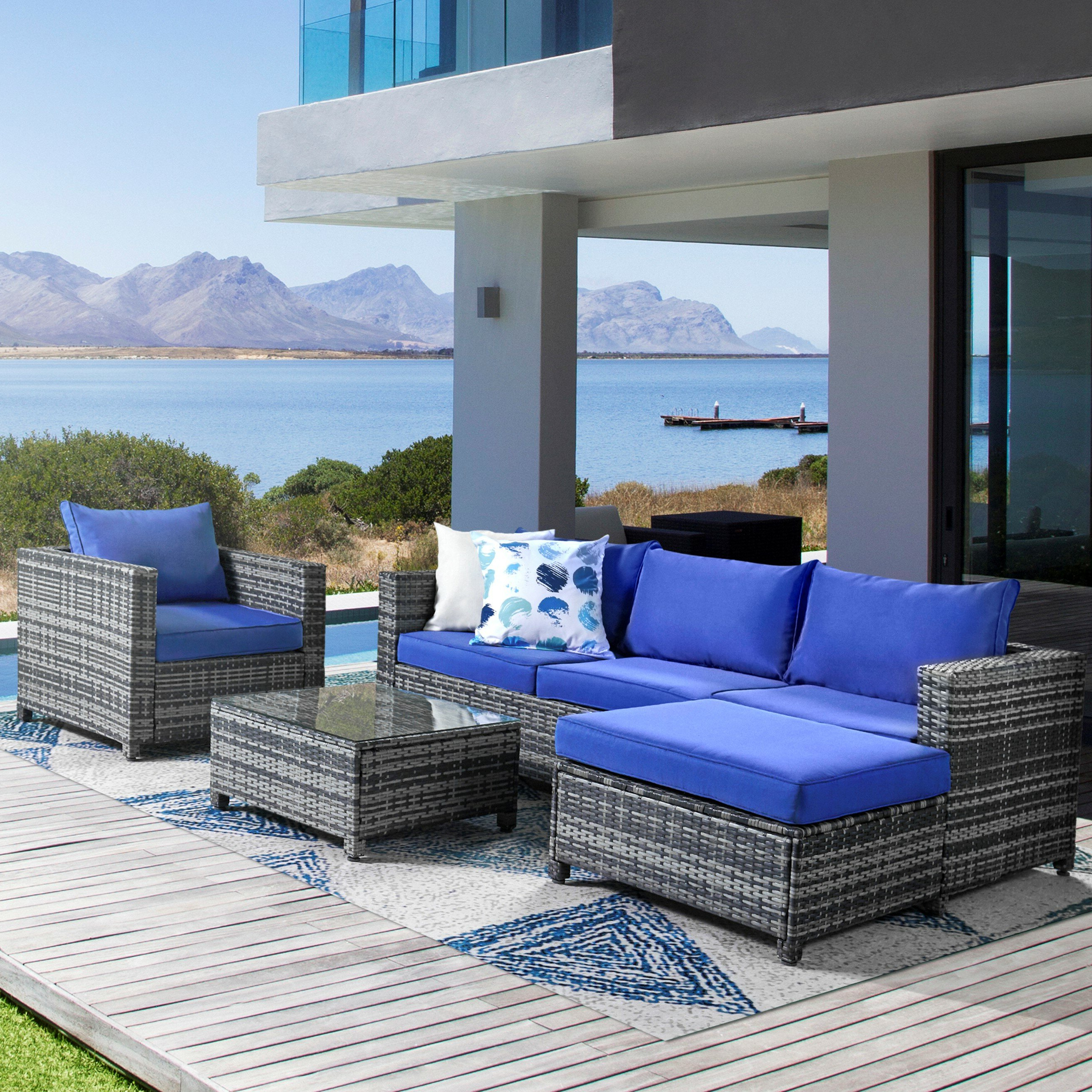 Widely Used Sascha Patio Sectional With Cushions For Rowley Patio Sofas Set With Cushions (View 8 of 20)
