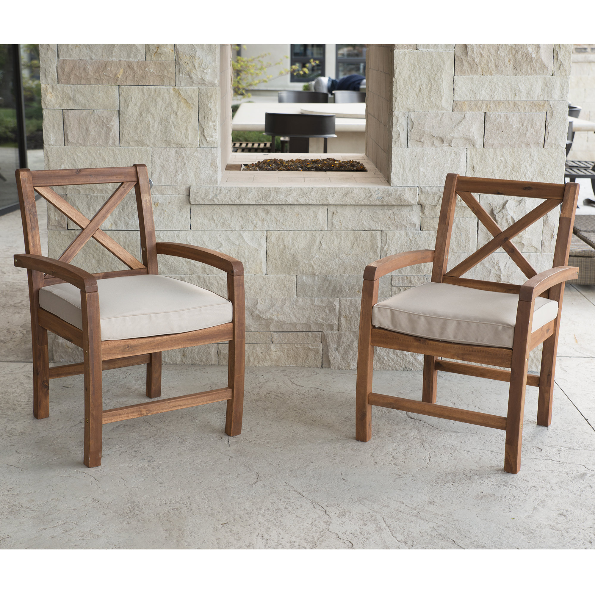 Widely Used Tim X Back Patio Loveseats With Cushions With Regard To Tim X Back Acacia Patio Chairs With Cushions (View 7 of 20)