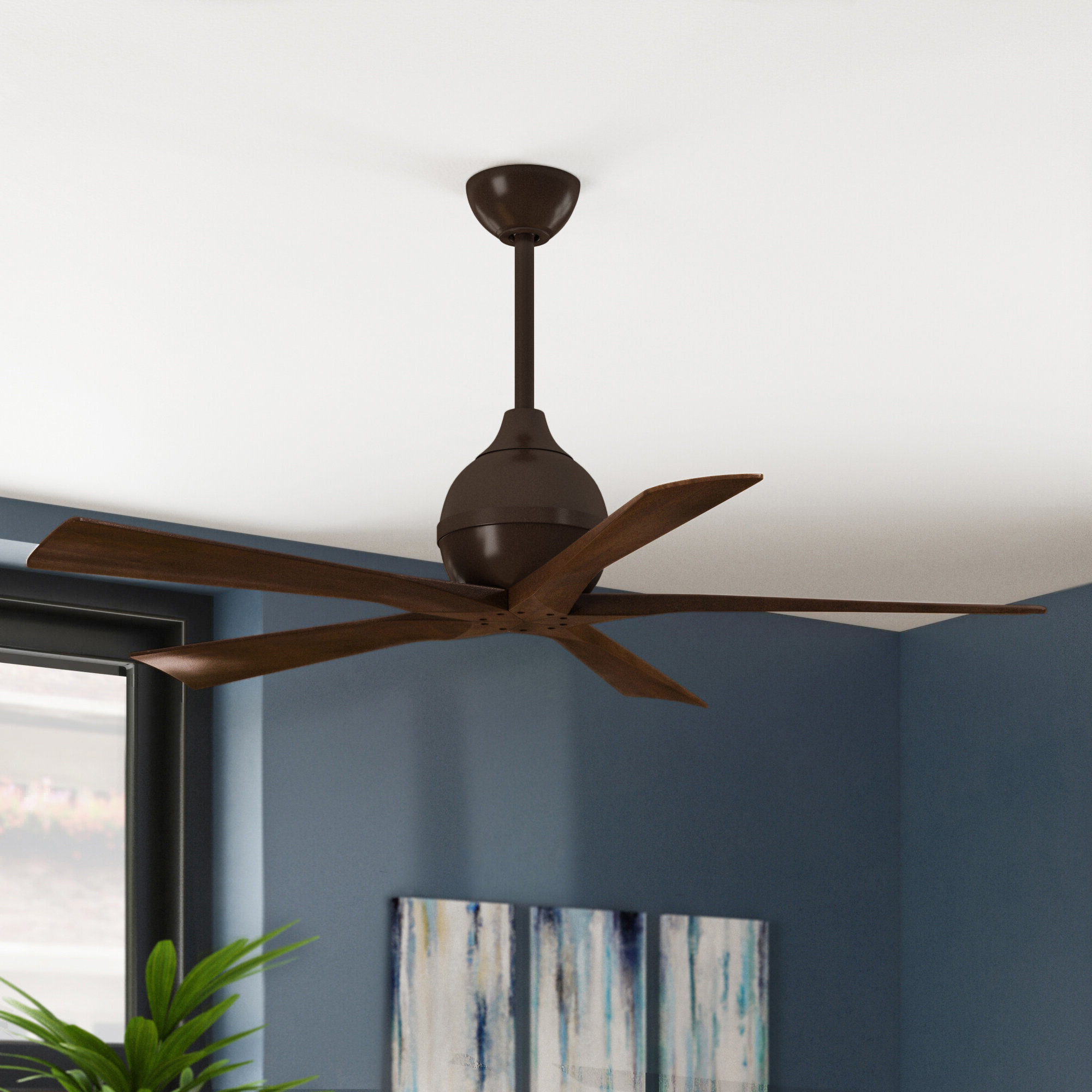 "Widely Used Tyree 3 Blade Ceiling Fans Throughout 52"" Tyree 5 Blade Ceiling Fan With Wall Remote (View 4 of 20)"