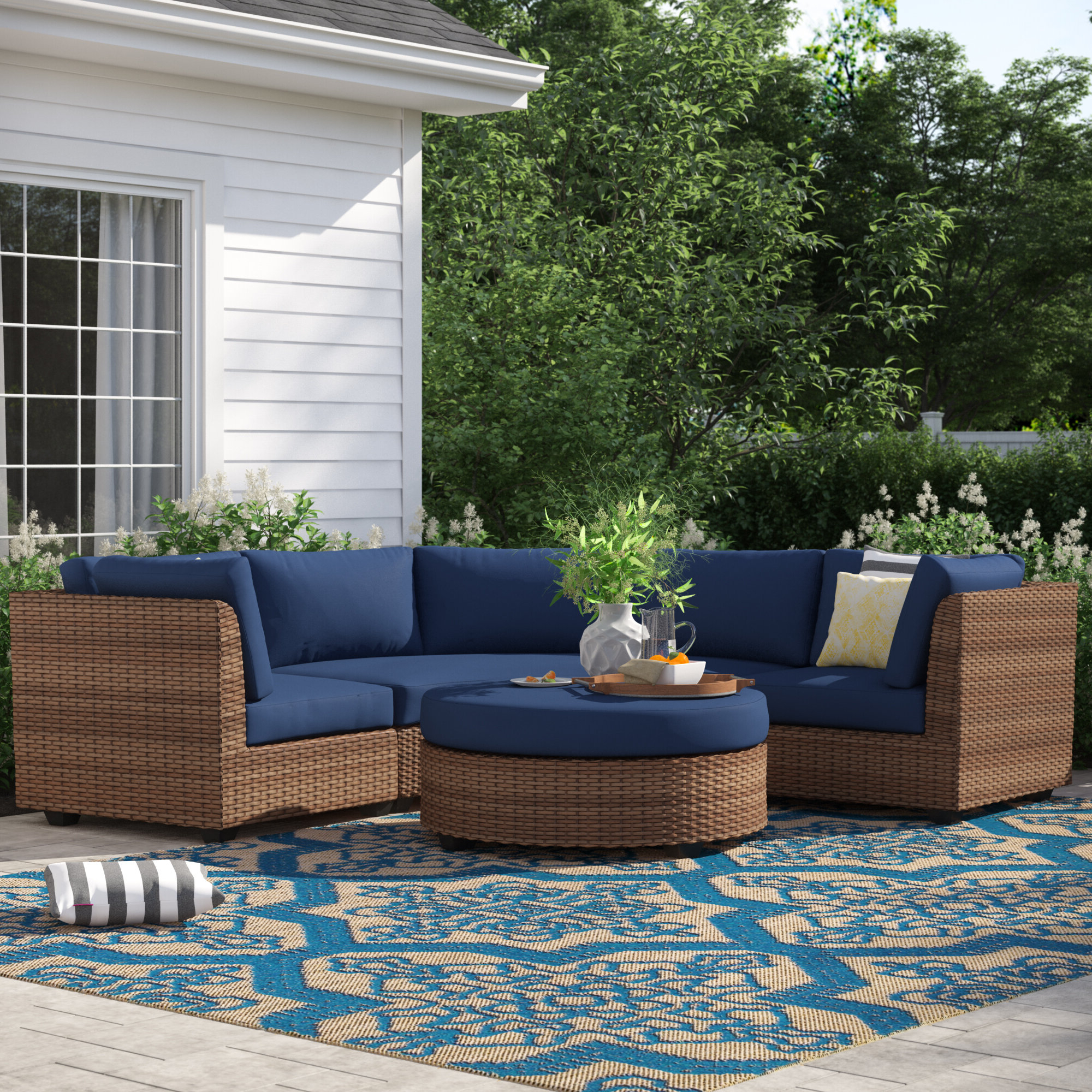 Widely Used Waterbury 4 Piece Rattan Sectional Seating Group With Cushions Within Waterbury Curved Armless Sofa With Cushions (View 19 of 20)