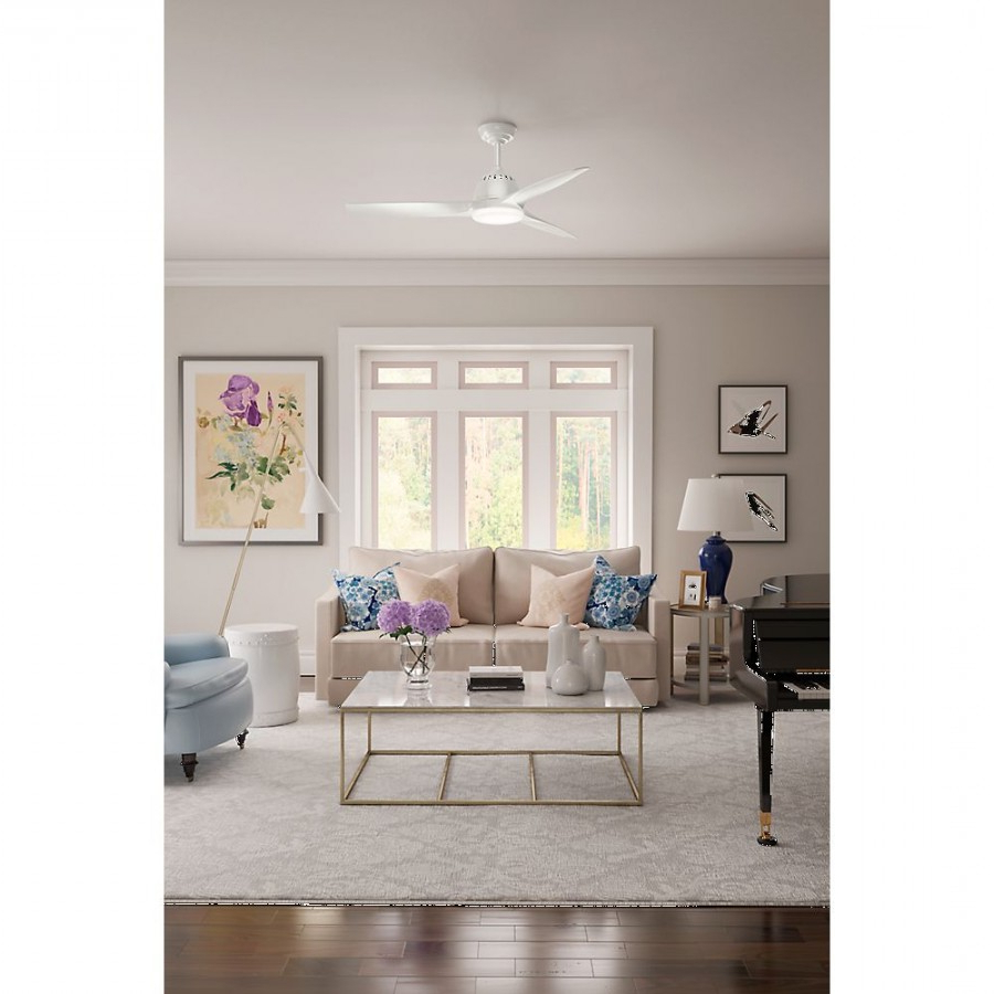 Wisp 3 Blade Led Ceiling Fans Inside Most Up To Date Casablanca 59284 Wisp 1 Led Light 52 Inch Ceiling Fan In Fresh White With 3  Fresh White Blade And Cased White Glass (View 18 of 20)