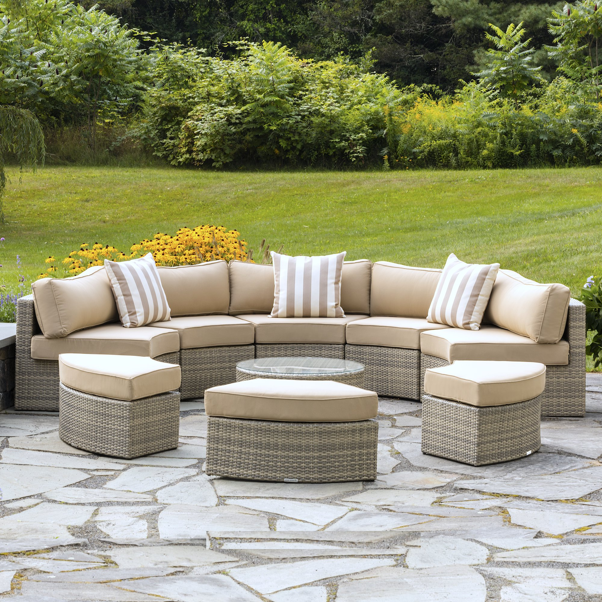 Wrobel Patio Sectionals With Cushion Inside Latest Santorini 9 Piece Sectional Seating Group With Cushions (View 18 of 20)