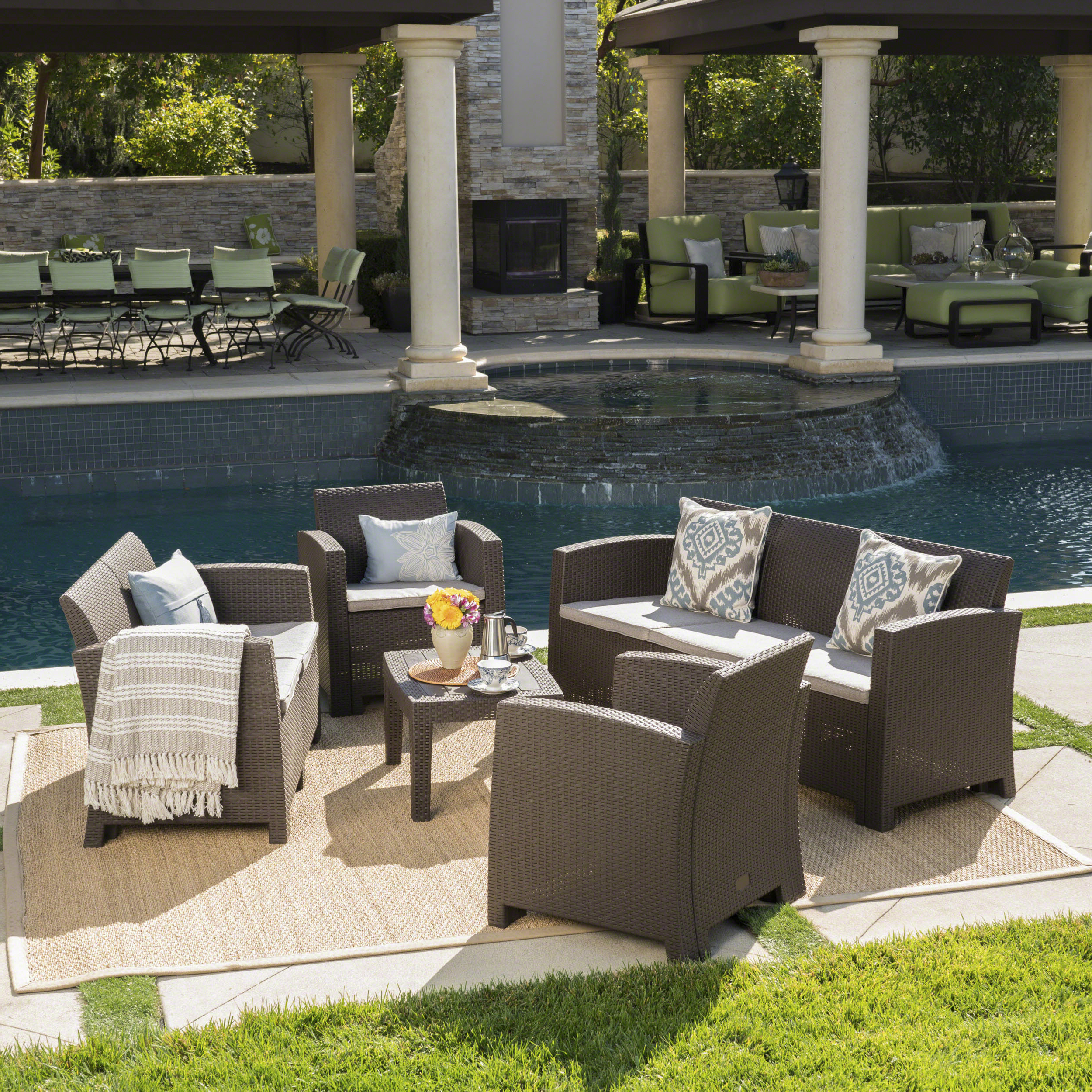 Yoselin Patio Sofas With Cushions Within Most Popular Yoselin 5 Piece Sofa Seating Group With Cushions & Reviews (View 20 of 20)
