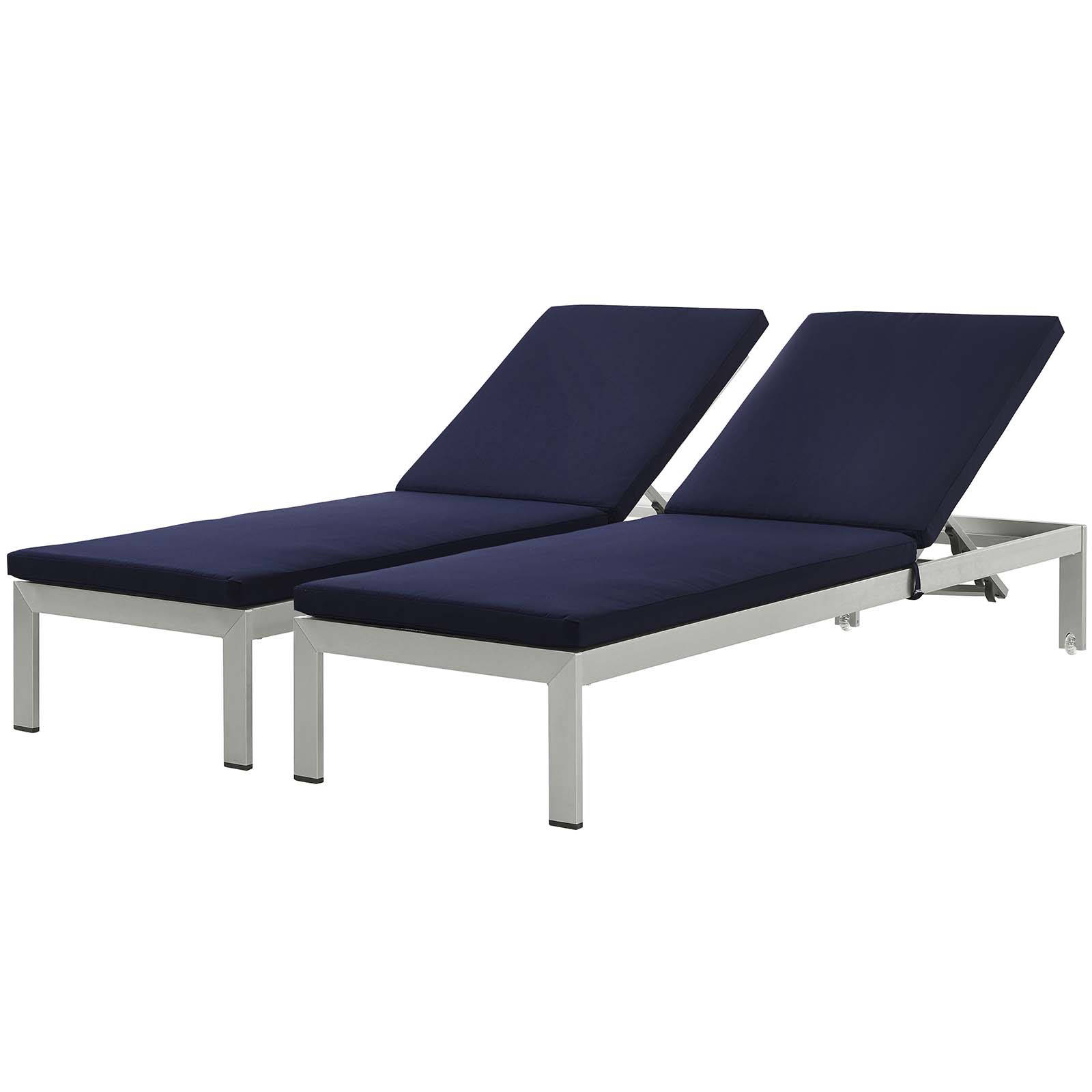 2 Modway Furniture Shore Silver Navy Outdoor Chaise With Cushion Intended For Most Recently Released Shore Aluminum Outdoor Chaise Lounges (View 1 of 25)