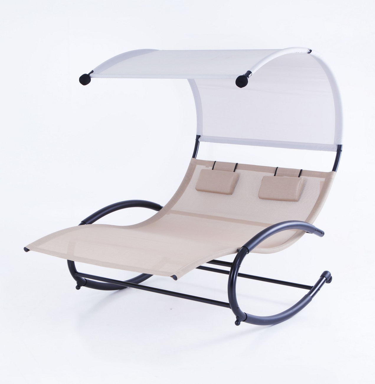 2 Person Lounge Swing Chair W Canopy Sun Shade Rocking Eames Inside Newest Double Reclining Lounge Chairs With Canopy (View 10 of 25)