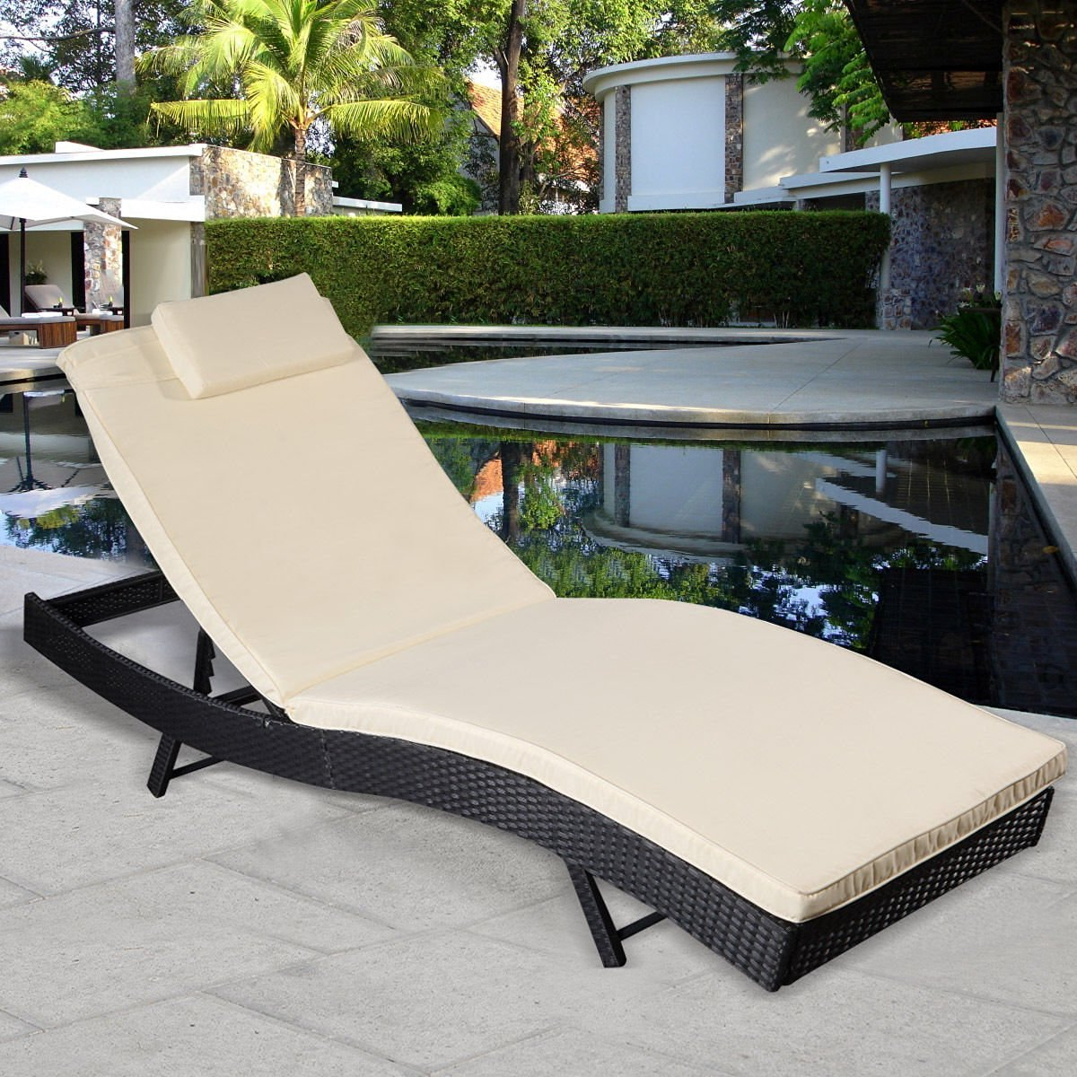 2019 Adjustable Outdoor Wicker Chaise Lounge Chairs With Cushion Within Cheap Lounge Pool Furniture, Find Lounge Pool Furniture (View 1 of 25)