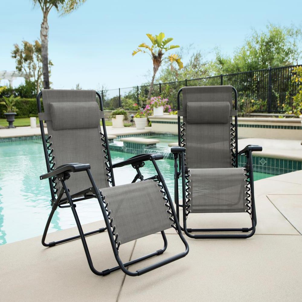 2019 Caravan Grey Metal Infinity Zero Gravity Patio Chair (2 Pack) Regarding Caravan Sports Grey Infinity Chairs (View 1 of 25)