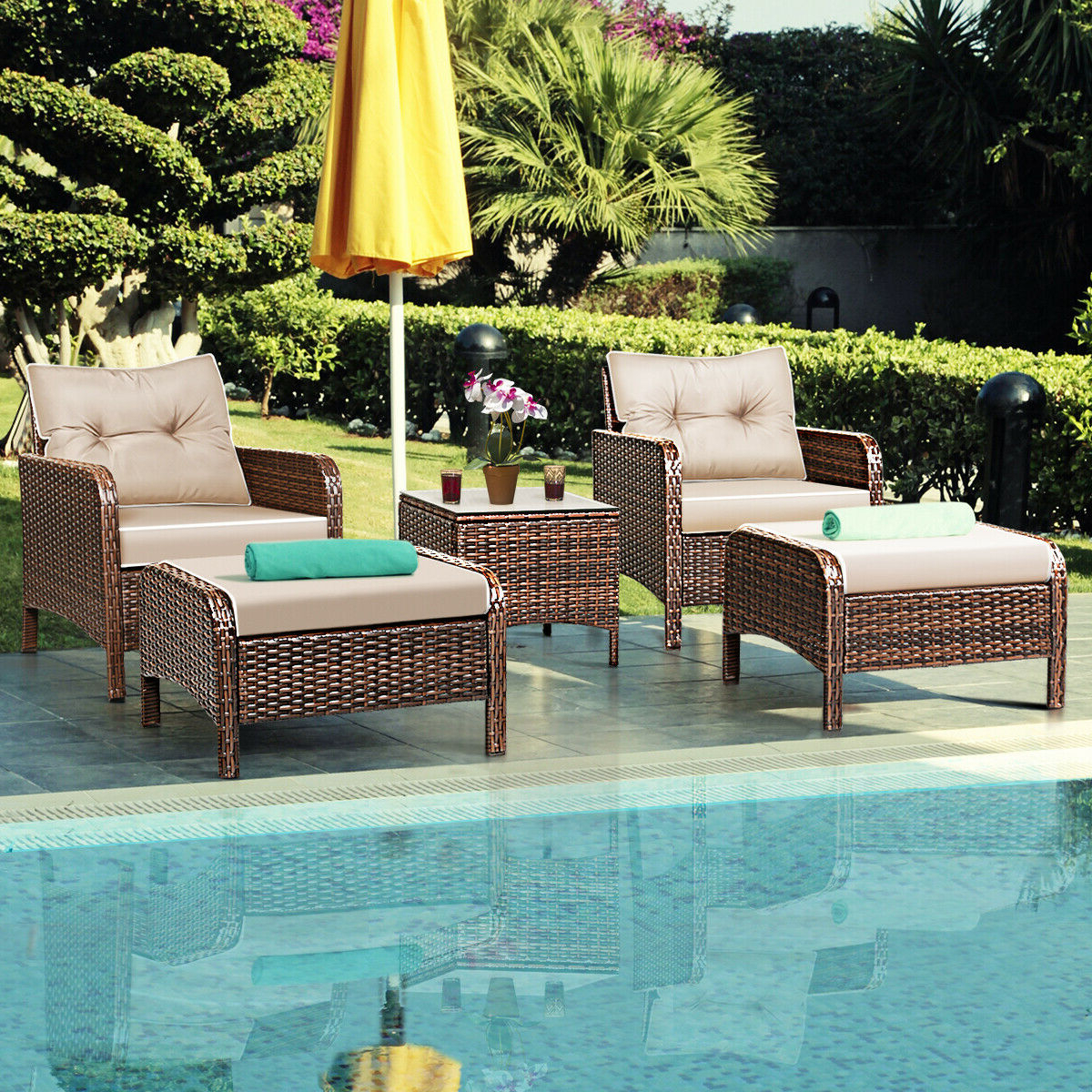 2019 Costway 5 Pcs Rattan Wicker Furniture Set Sofa Ottoman W/brown Cushion Patio Garden Yard With Regard To Outdoor Adjustable Rattan Wicker Recliner Chairs With Cushion (View 25 of 25)