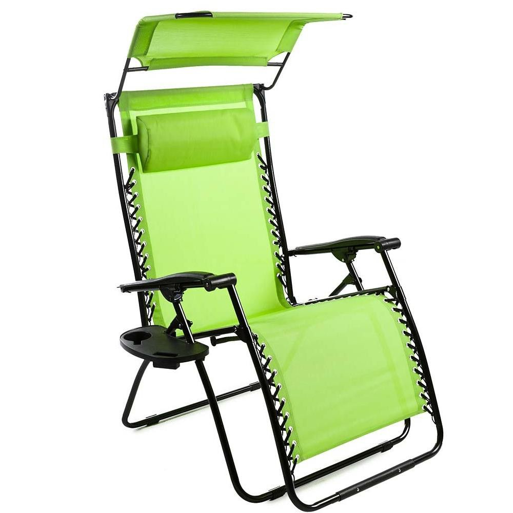 2019 Deluxe Padded Chairs With Canopy And Tray Within Deluxe Zero Gravity Chair With Canopy, Table & Drink Holder (View 2 of 25)