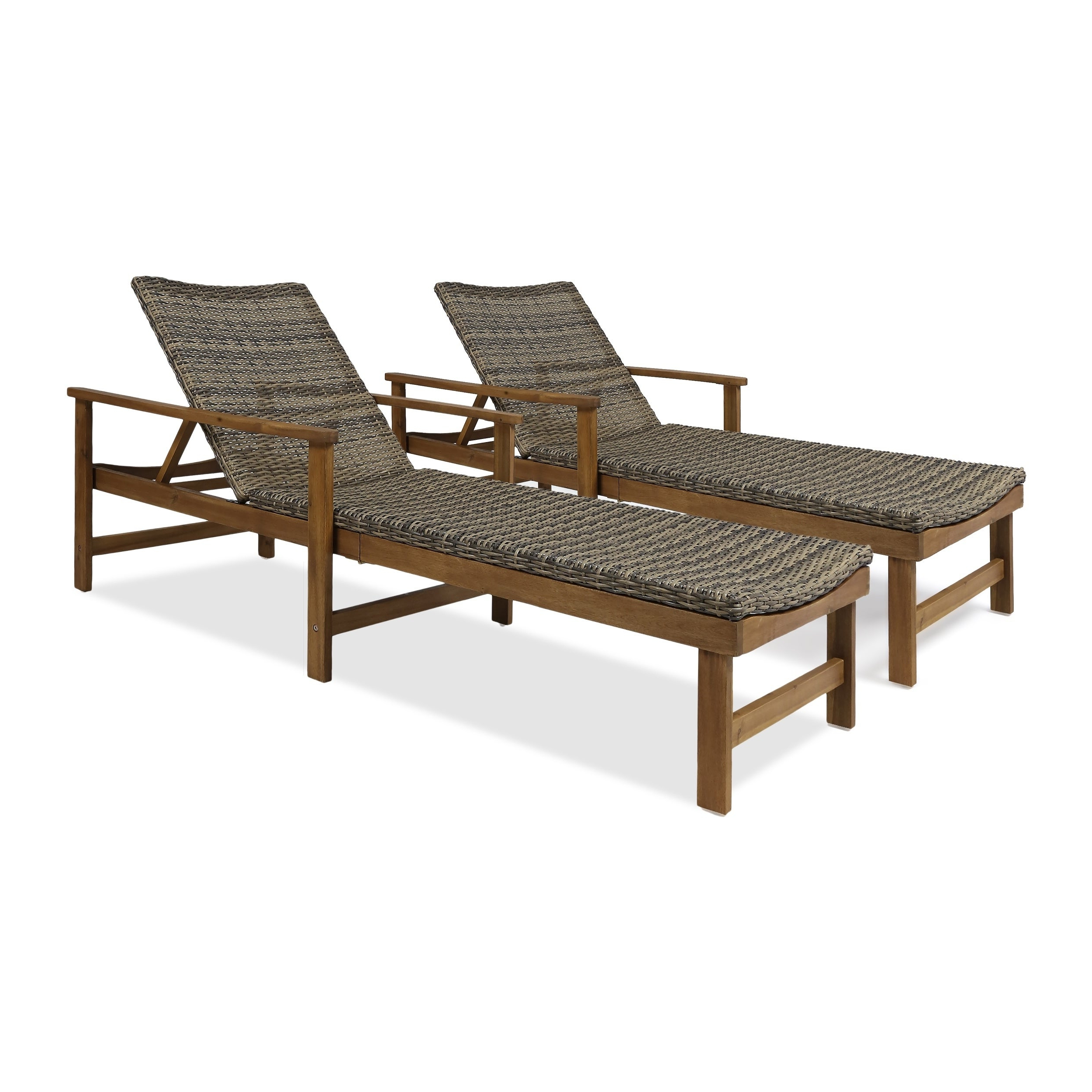 2019 Hampton Outdoor Chaise Lounges Acacia Wood And Wicker (Set Of 2) Christopher Knight Home Within Hampton Outdoor Chaise Lounges Acacia Wood And Wicker (Gallery 3 of 25)