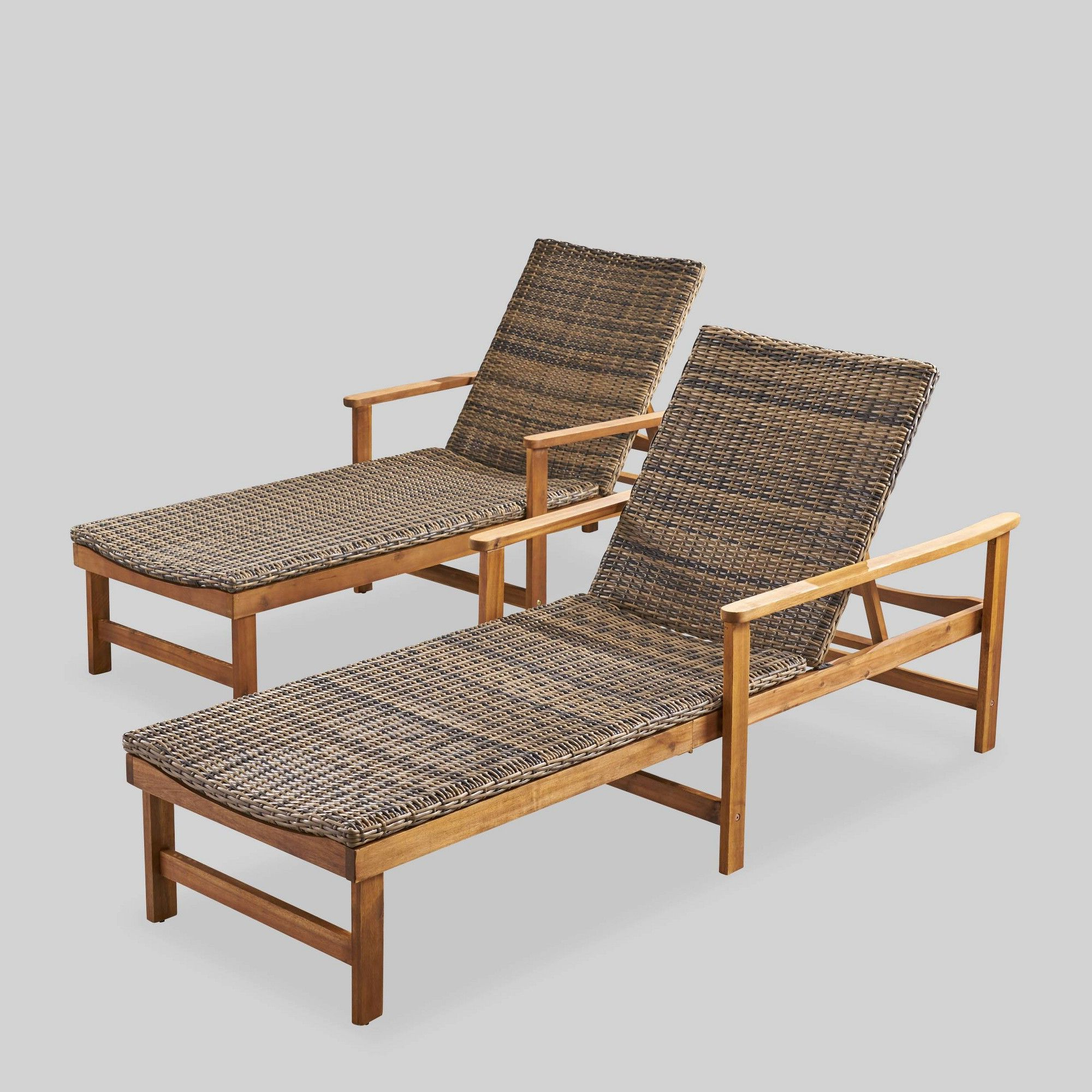 2019 Hampton Outdoor Chaise Lounges Acacia Wood And Wicker Within Hampton 2Pk Acacia Wood And Wicker Chaise Lounges Natural (Gallery 6 of 25)