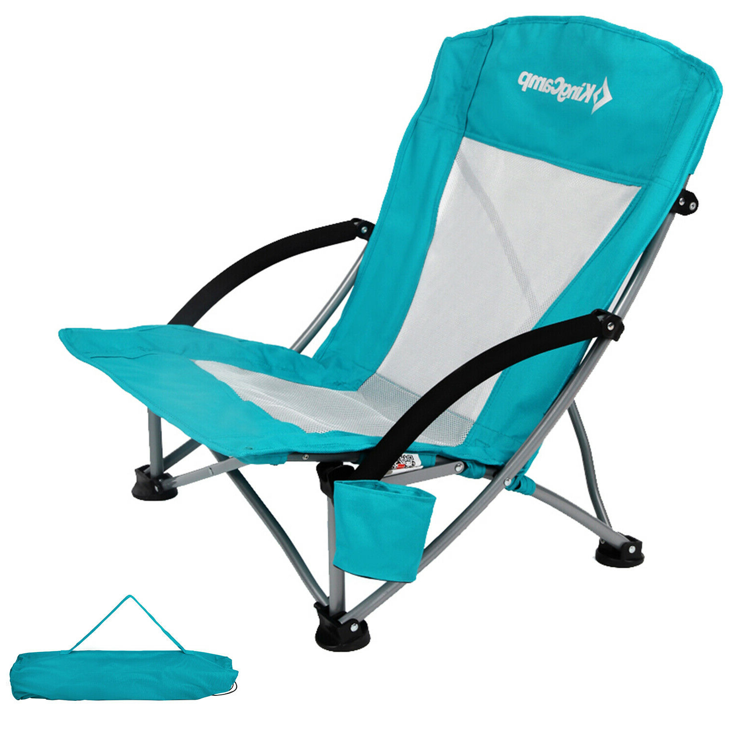2019 Kingcamp Low Sling Beach Chair Camping Concert Folding Chairs Low Mesh Back With Regard To Sunset Patio Sling Folding Chairs With Headrest (Gallery 13 of 25)