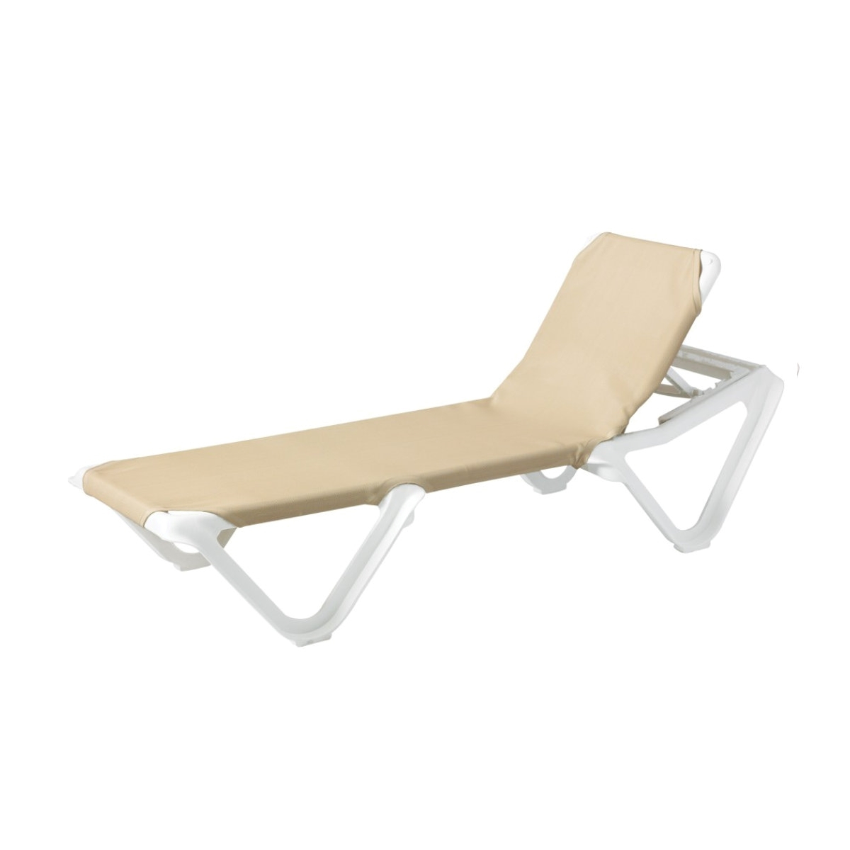 2019 Nautical Plastic Resin Sling Stackable Chaise Lounge, White Frame Pool  Furniture, 35 Lbs (View 1 of 25)