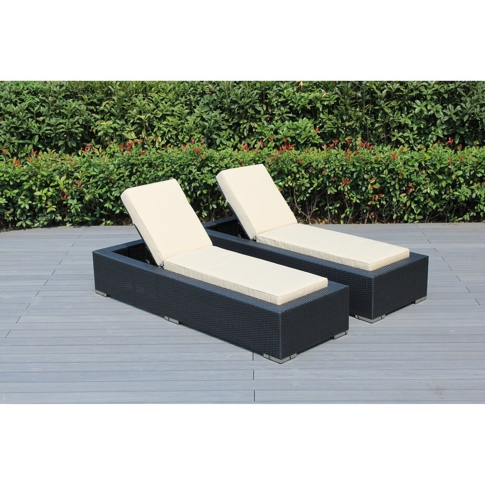 2019 Ohana Outdoor Patio 2 Piece Black Wicker Chaise Lounge Set With Cushions Regarding 2 Piece Outdoor Wicker Chaise Lounge Chairs (View 4 of 25)