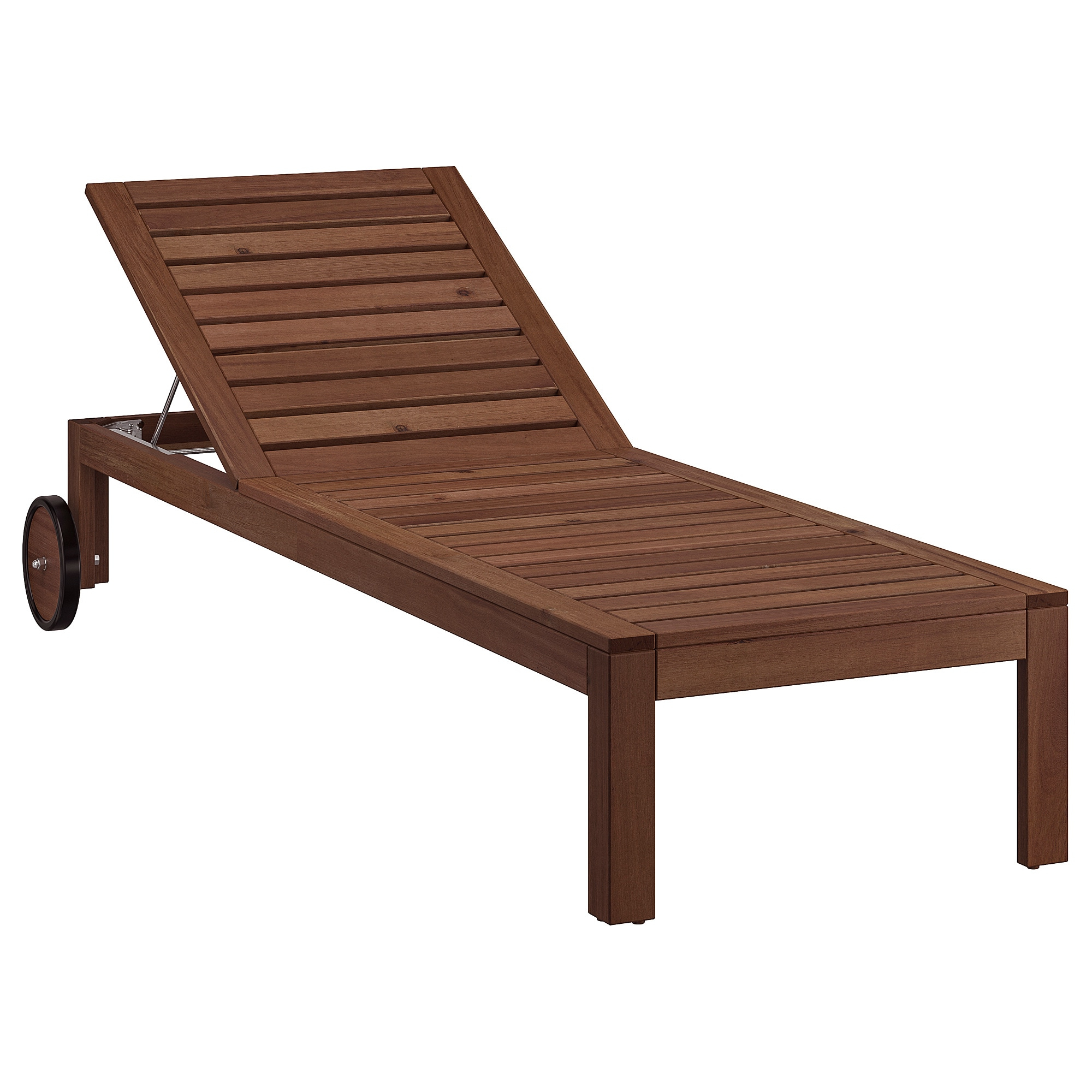 2019 Outdoor Cart Wheel Adjustable Chaise Lounge Chairs In Chaise Äpplarö Brown Stained Brown (Gallery 12 of 25)