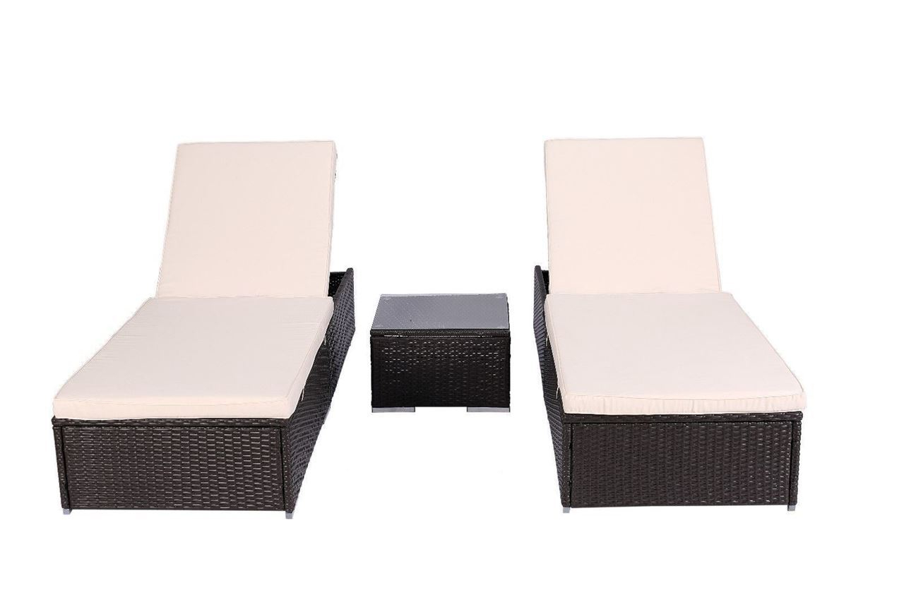 2019 Outdoor Chaise Lounge Chair Patio Furniture Set Wicker Rattan Brown 3 Piece Intended For All Weather Rattan Wicker Chaise Lounges (View 1 of 25)