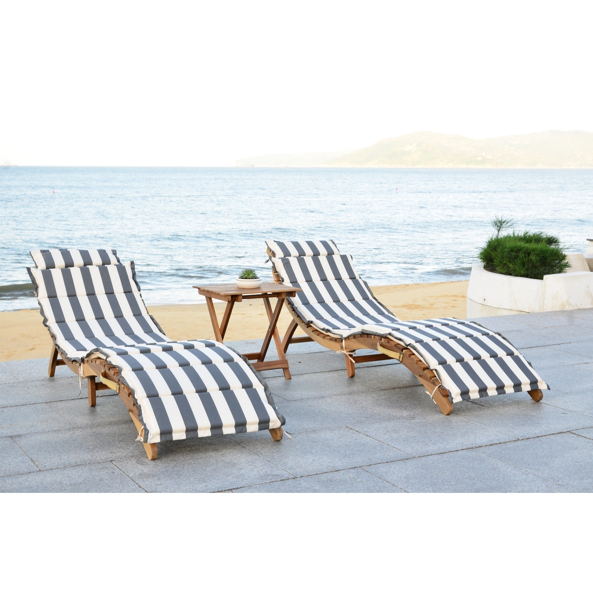 2019 Outdoor Living Pacifica Piece Lounge Sets For Safavieh Outdoor Living Pacifica Teak Brown/ Grey & White Piece Lounge Set (View 6 of 25)
