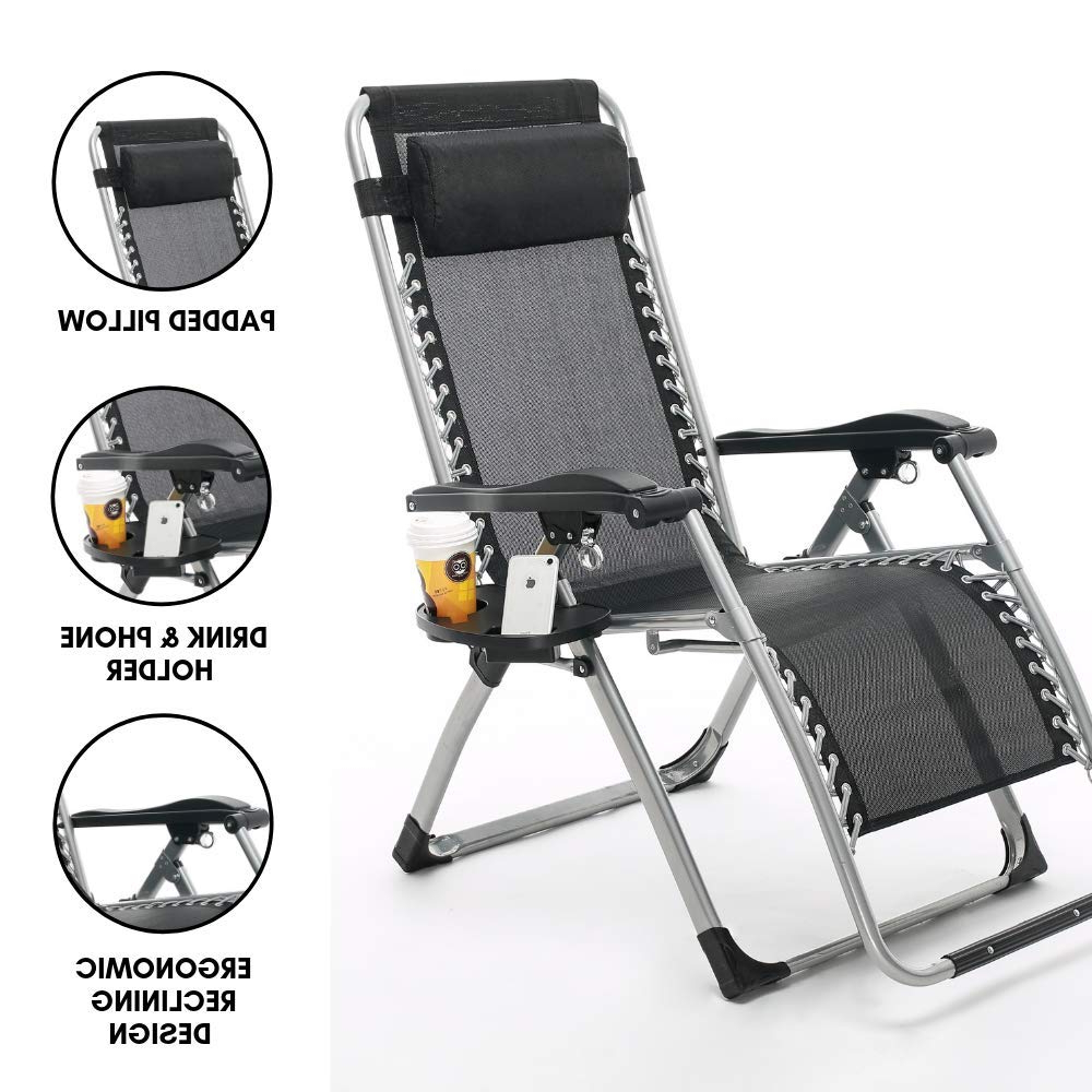 2019 Portable Extendable Folding Reclining Chairs Pertaining To Equal – Portable & Easy Folding Reclining Zero Gravity Chair (View 3 of 25)