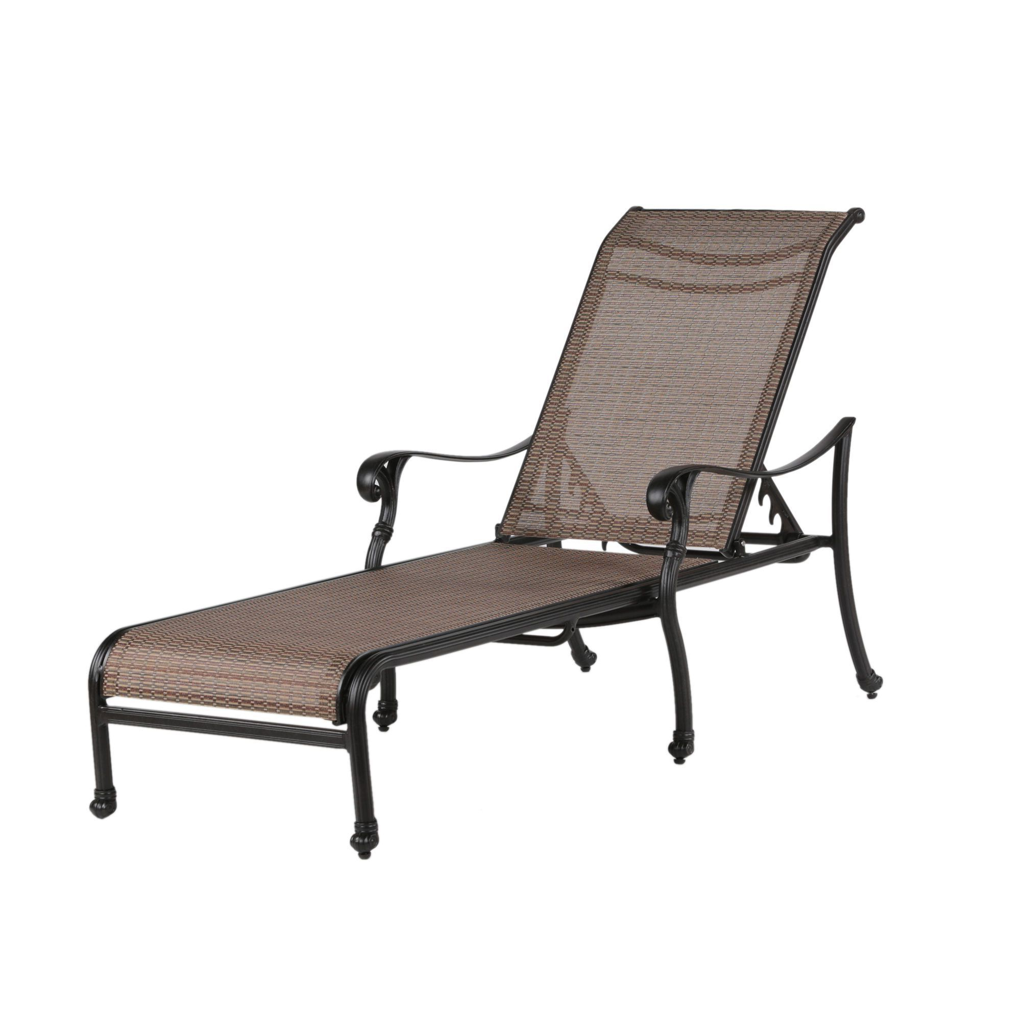 2019 Reclining Sling Lounge Chairs Regarding Yorkshire Cast Aluminum (silver) Reclining Sling Chaise (Gallery 11 of 25)