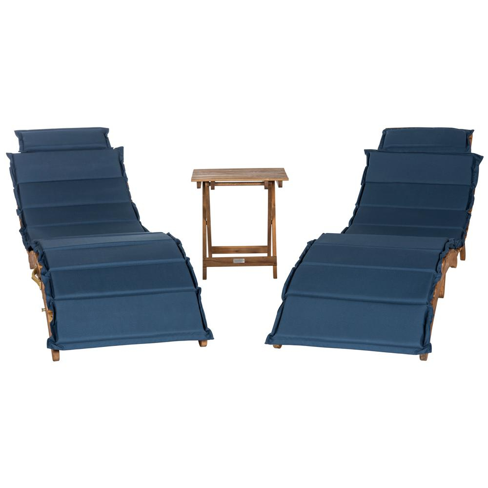 2019 Safavieh Pacifica Natural Brown 3 Piece Wood Outdoor Lounge Chair With Navy Cushion Inside Outdoor 3 Piece Acacia Wood Chaise Lounge Sets (Gallery 9 of 25)