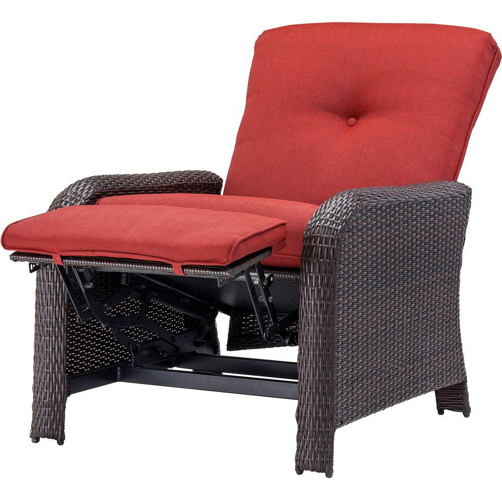 2019 Strathmere Crimson Red Outdoor Reclining Patio Arm Chair In Outdoor Living Manteca Dark Slate Lounge Chairs (View 1 of 25)