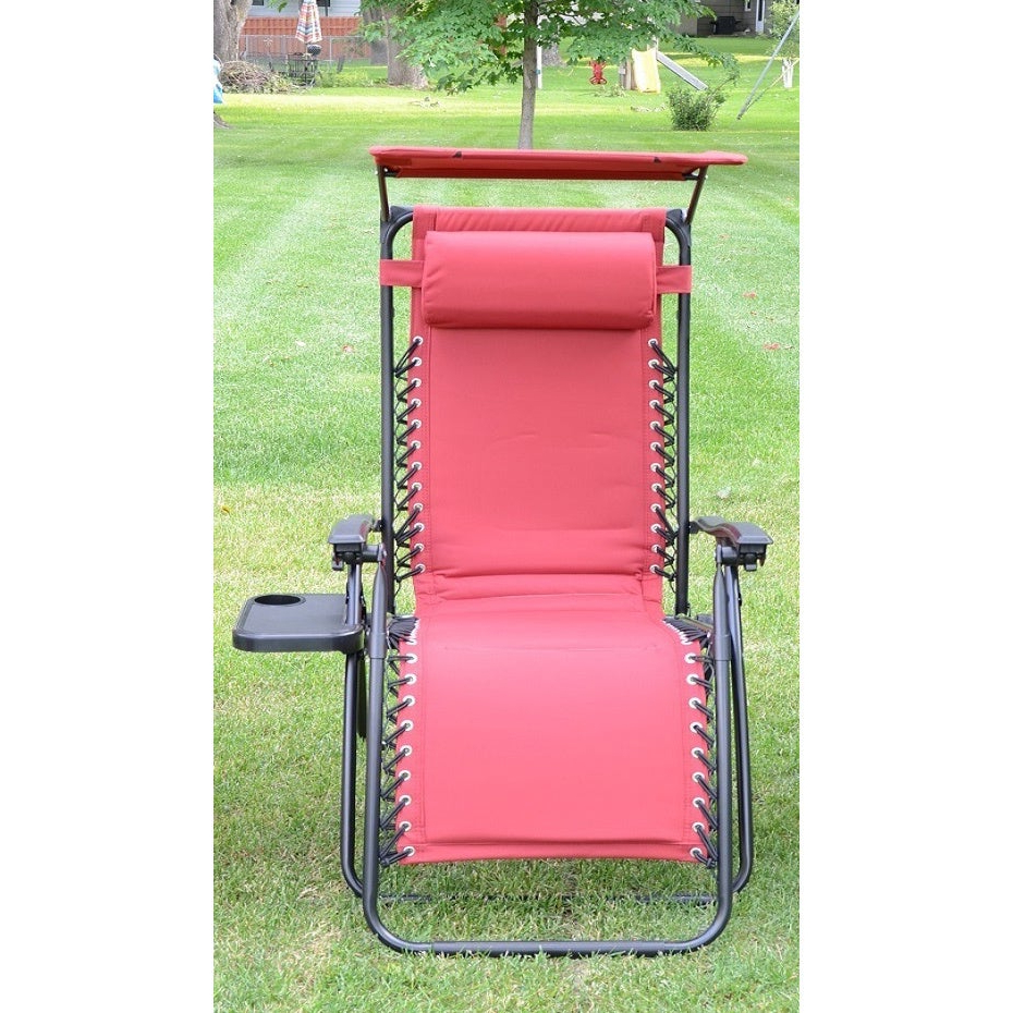 2019 Styled Shopping Deluxe Padded Zero Gravity Chair With Canopy And Tray With Mesh Fabric With Steel Frame Chairs With Canopy And Tray (Gallery 5 of 25)