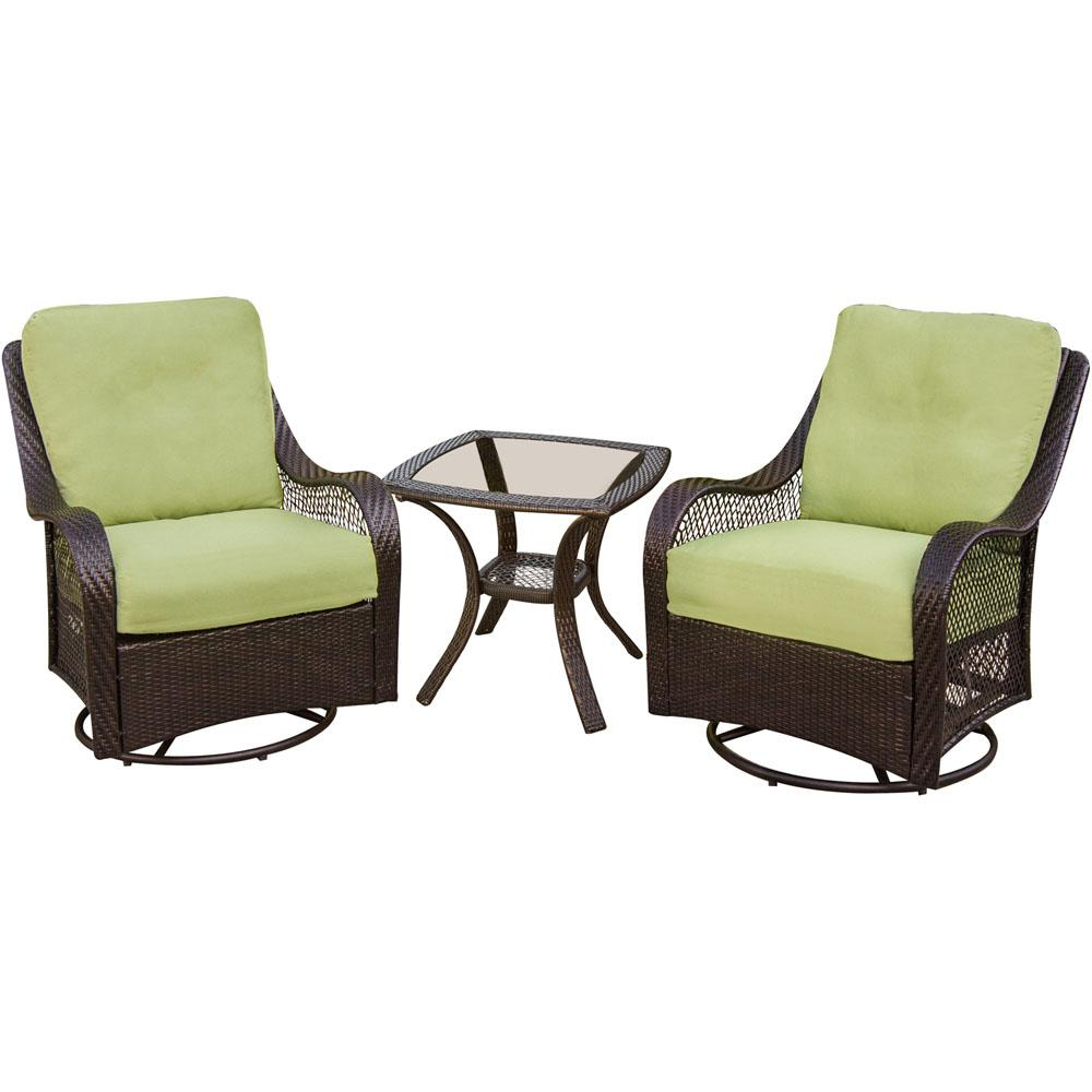 2020 3 Piece Patio Lounger Sets Throughout Hanover Orleans 3 Piece Patio Lounge Set With Avocado Green Cushions (View 25 of 25)
