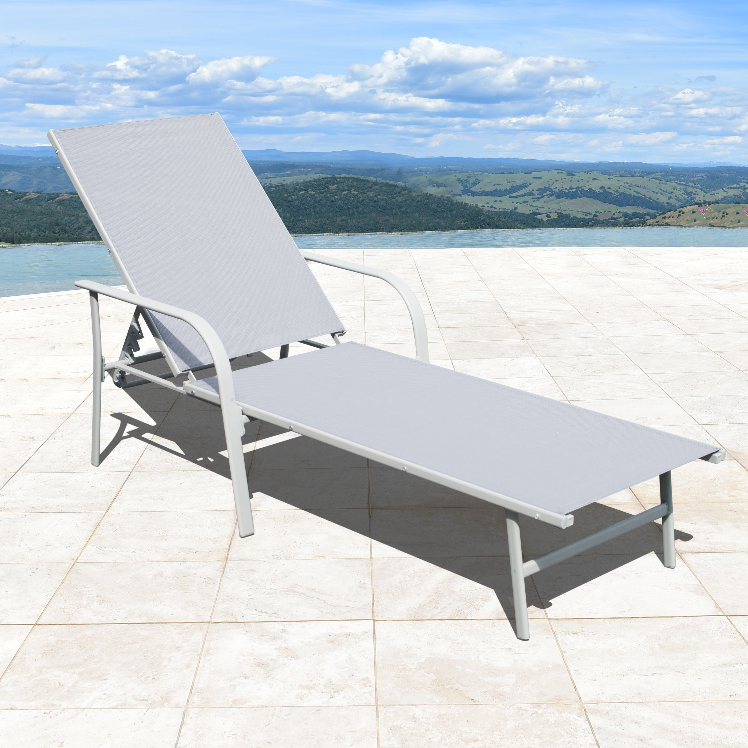 Featured Photo of Black Sling Fabric Adjustable Chaise Lounges