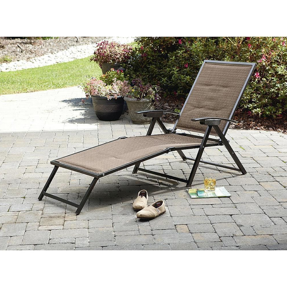 2020 Brown Folding Patio Chaise Lounger Chairs In Garden Oasis Chair Folding Padded Sling Chaise Patio Home (View 1 of 25)