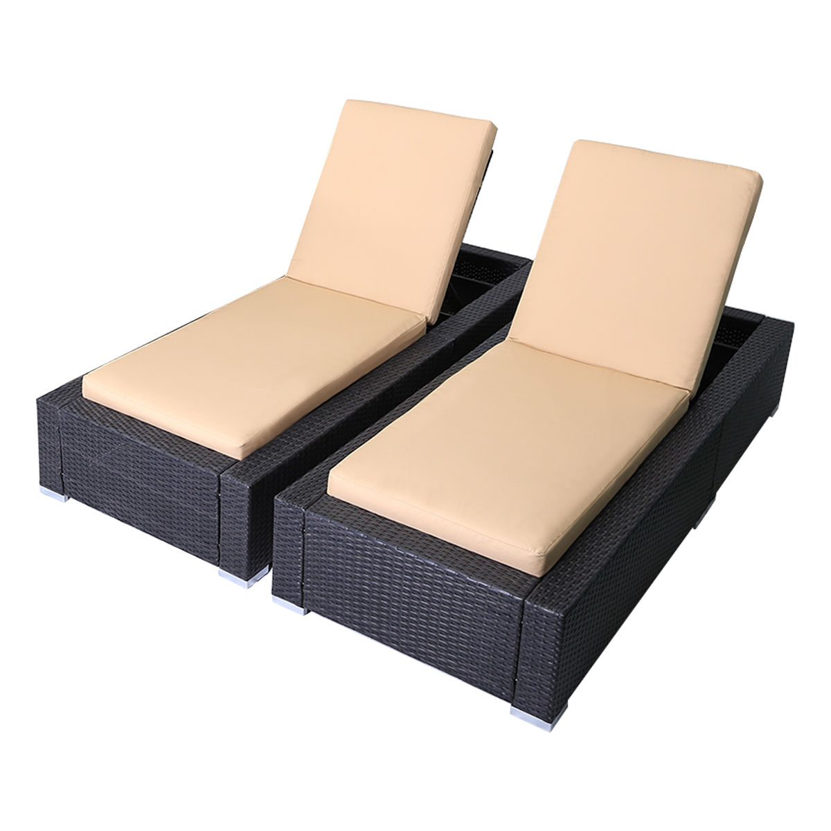 2020 Costway: Costway 2Pcs Patio Rattan Wicker Chaise Lounge Chair Adjustable  Back Deck W/ Cushion (View 2 of 25)