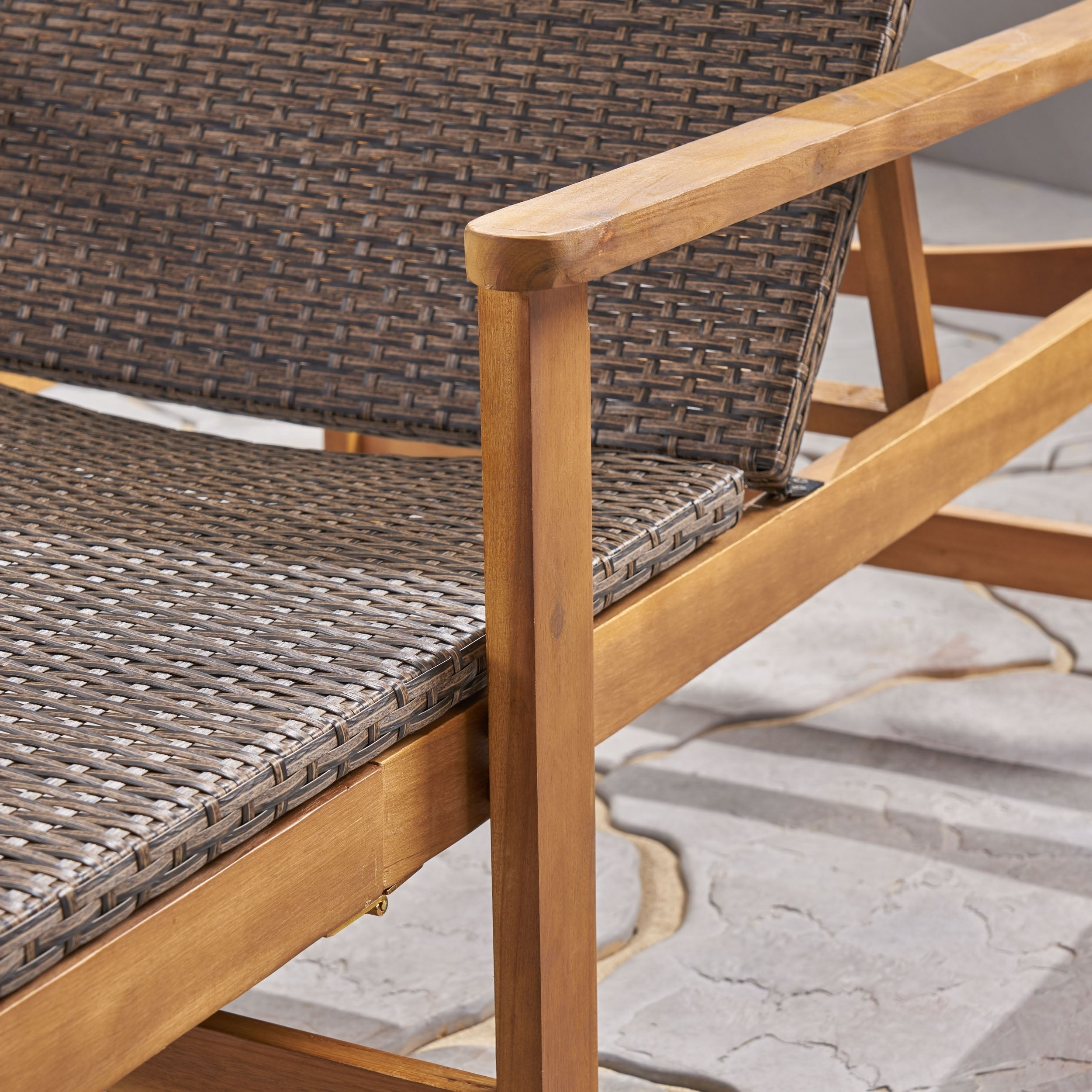 2020 Details About Hampton Outdoor Rustic Acacia Wood Chaise Lounge With Wicker For Outdoor Rustic Acacia Wood Chaise Lounges With Wicker Seat (View 4 of 25)