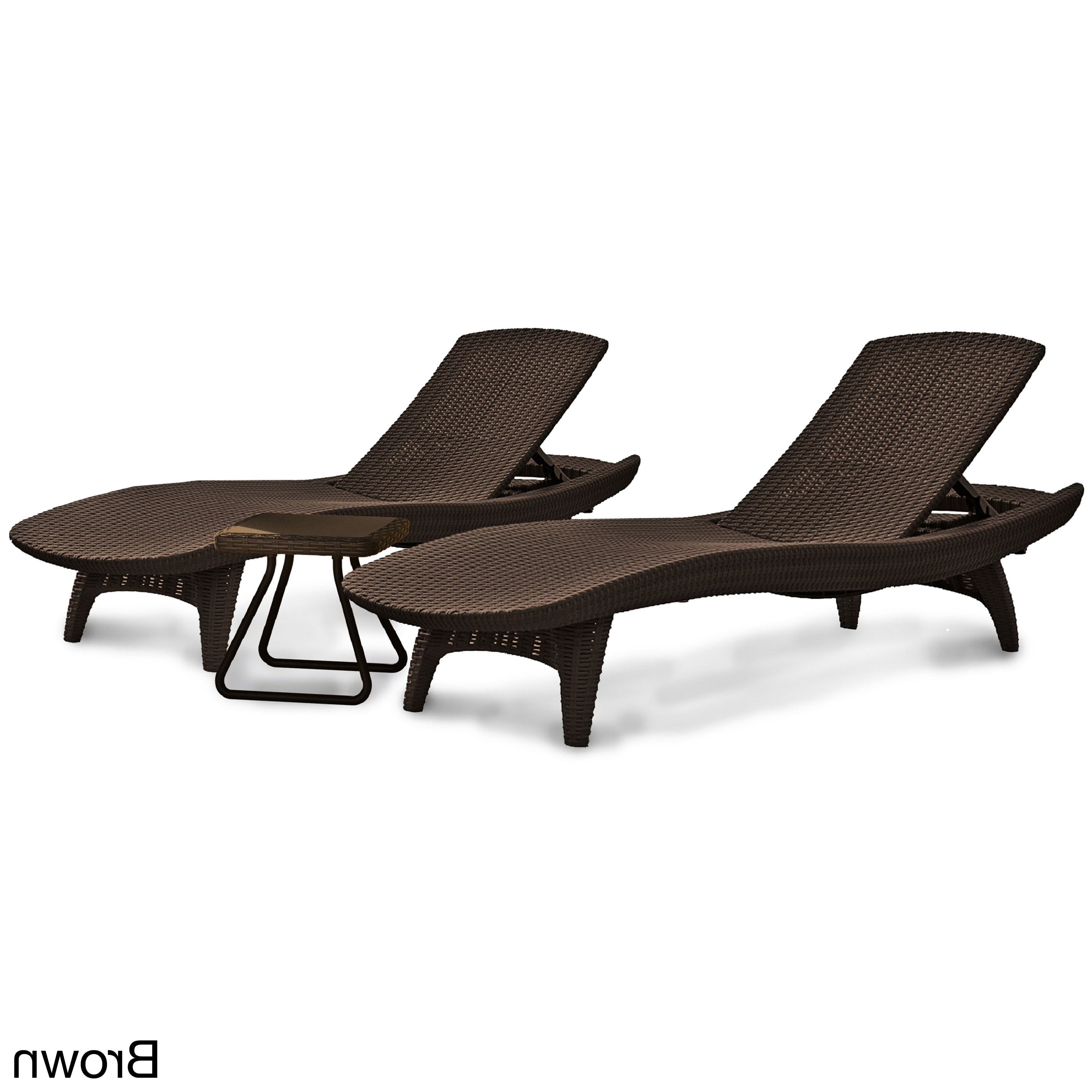 2020 Hanover Halsted Padded Chaises Pertaining To Keter 3 Piece All Weather Adjustable Patio Sun Loungers And (View 23 of 25)